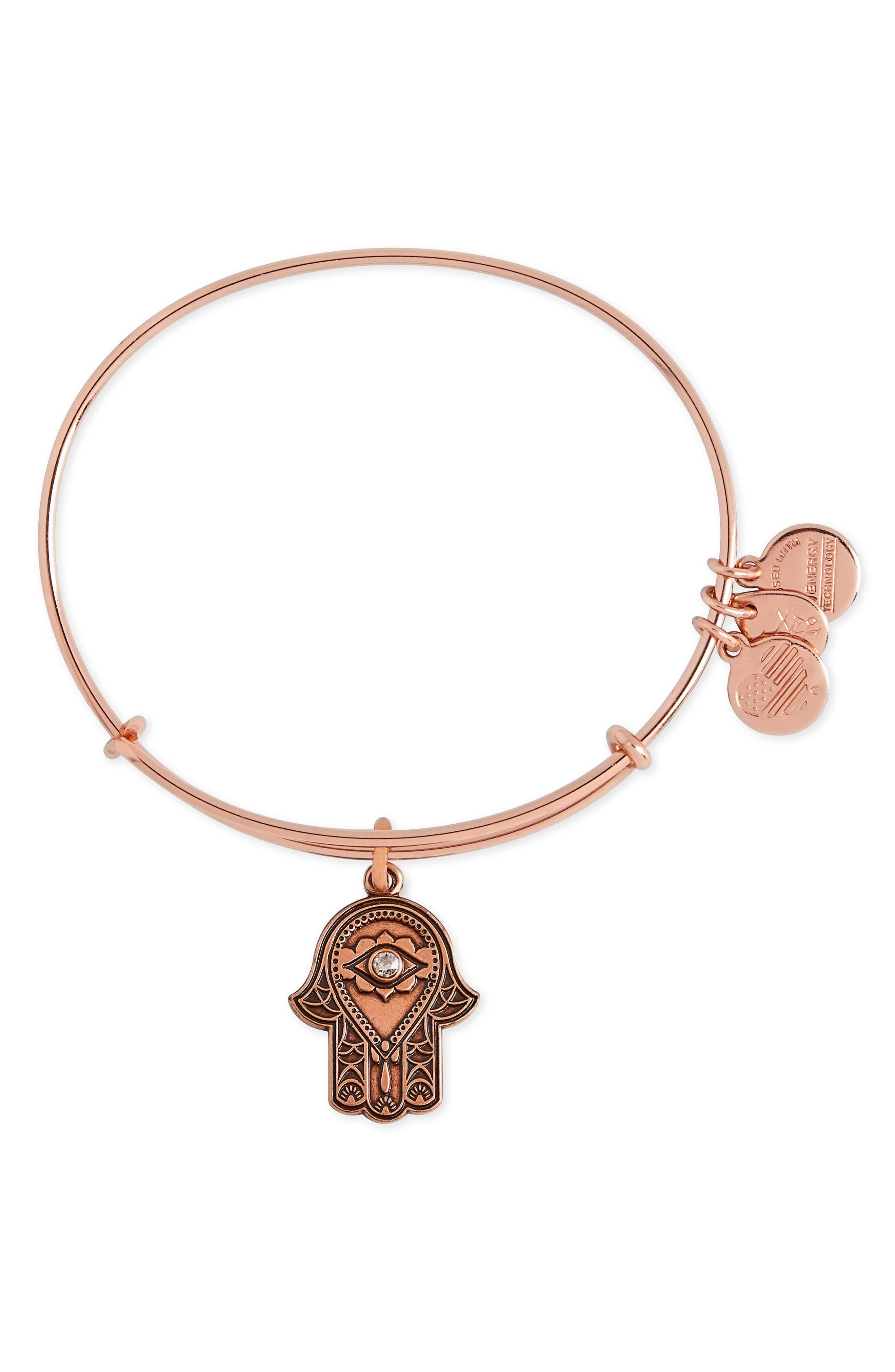 Hand of Fatima Adjustable Wire Bangle,                             Main thumbnail 1, color,                             Rose Gold