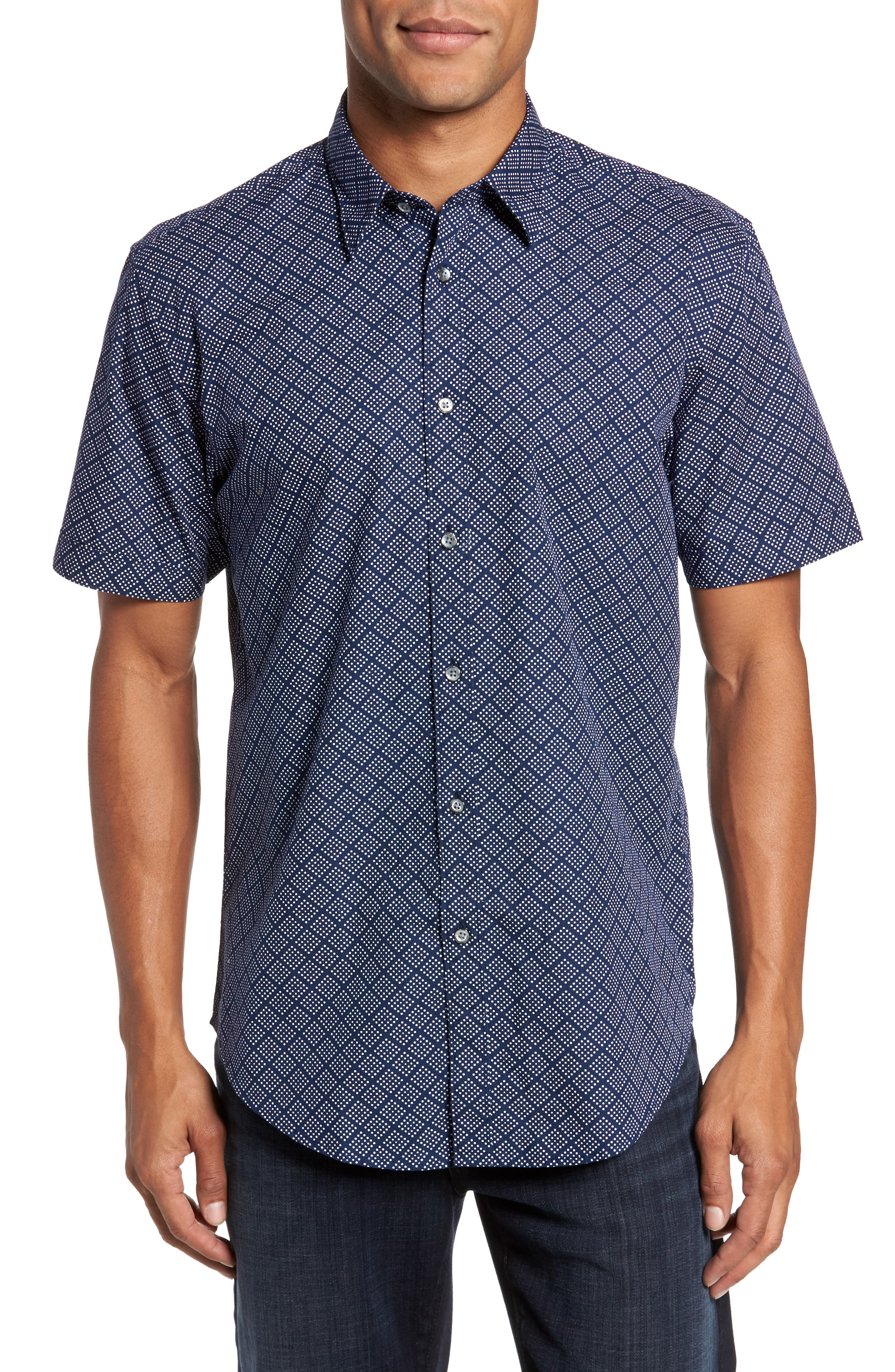 Diamo Regular Fit Dot Print Sport Shirt,                         Main,                         color, Navy