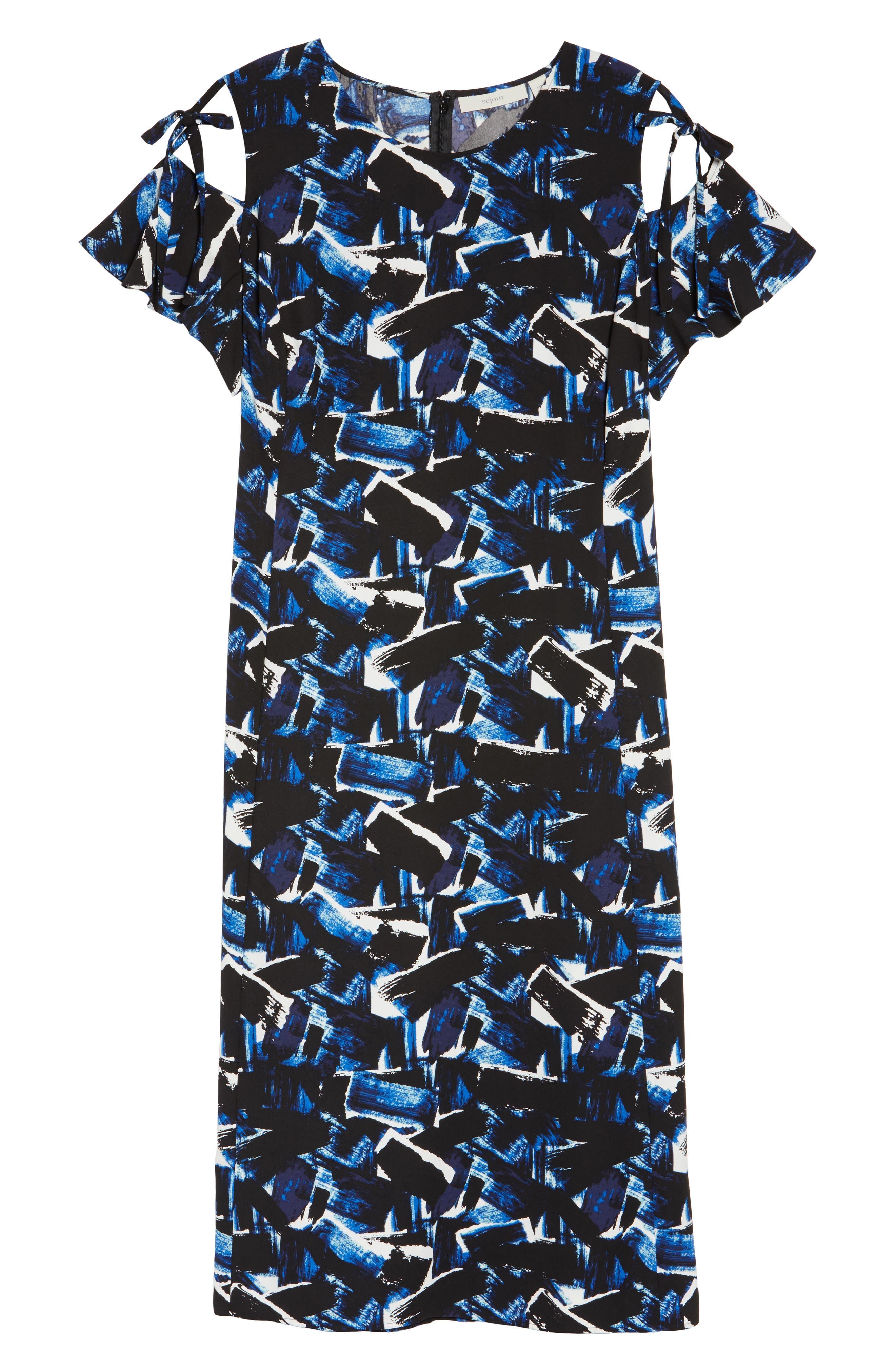 Alternate Image 6  - Sejour Cold Shoulder A-Line Dress (Plus Size)