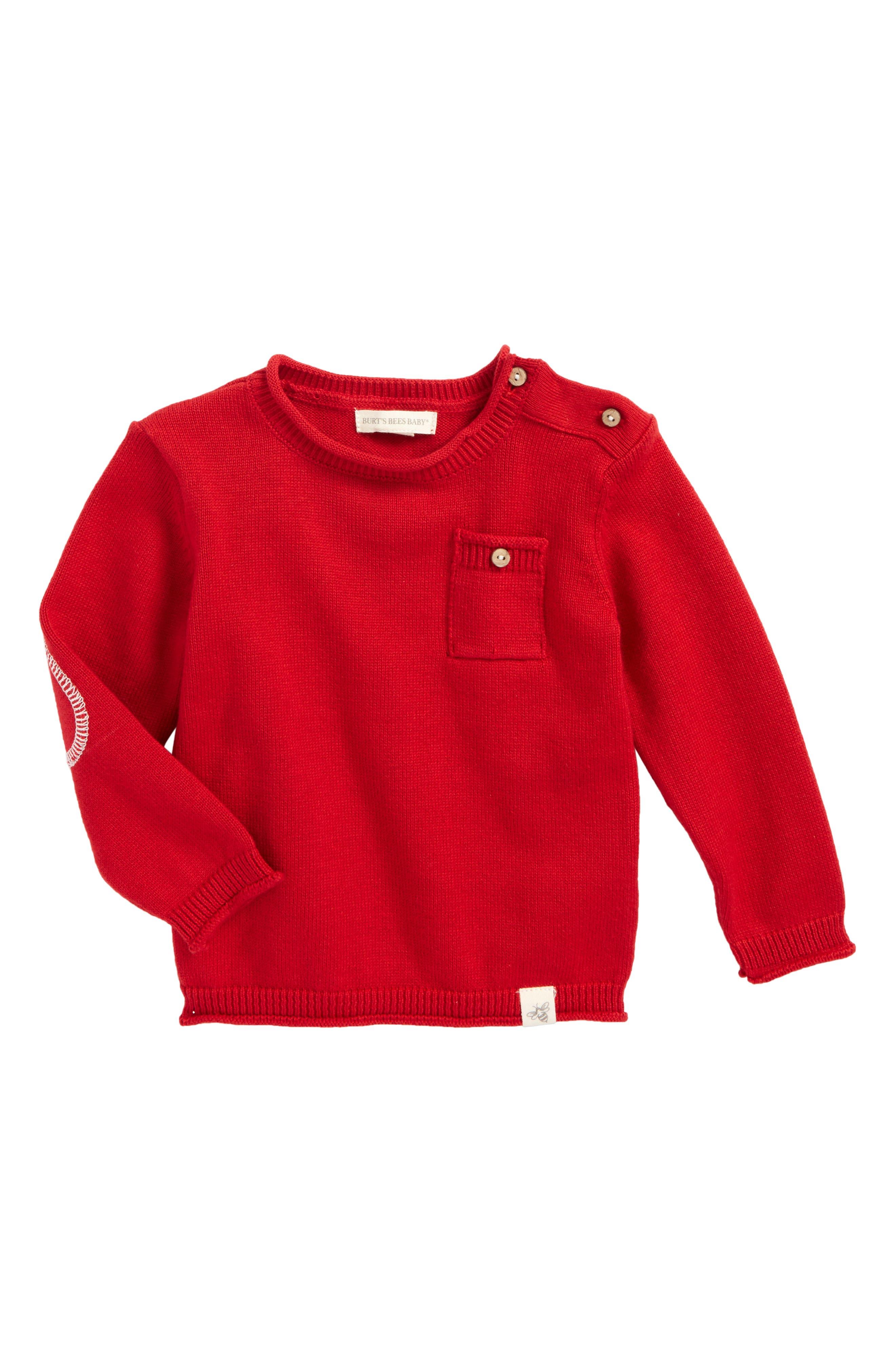Pocket Organic Cotton Sweater,                         Main,                         color, Cranberry