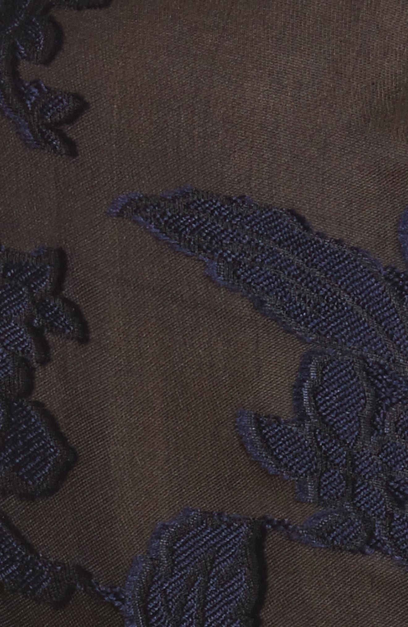 Velvet & Organza Floral Jumpsuit,                             Alternate thumbnail 5, color,                             Dark Violet/ Black