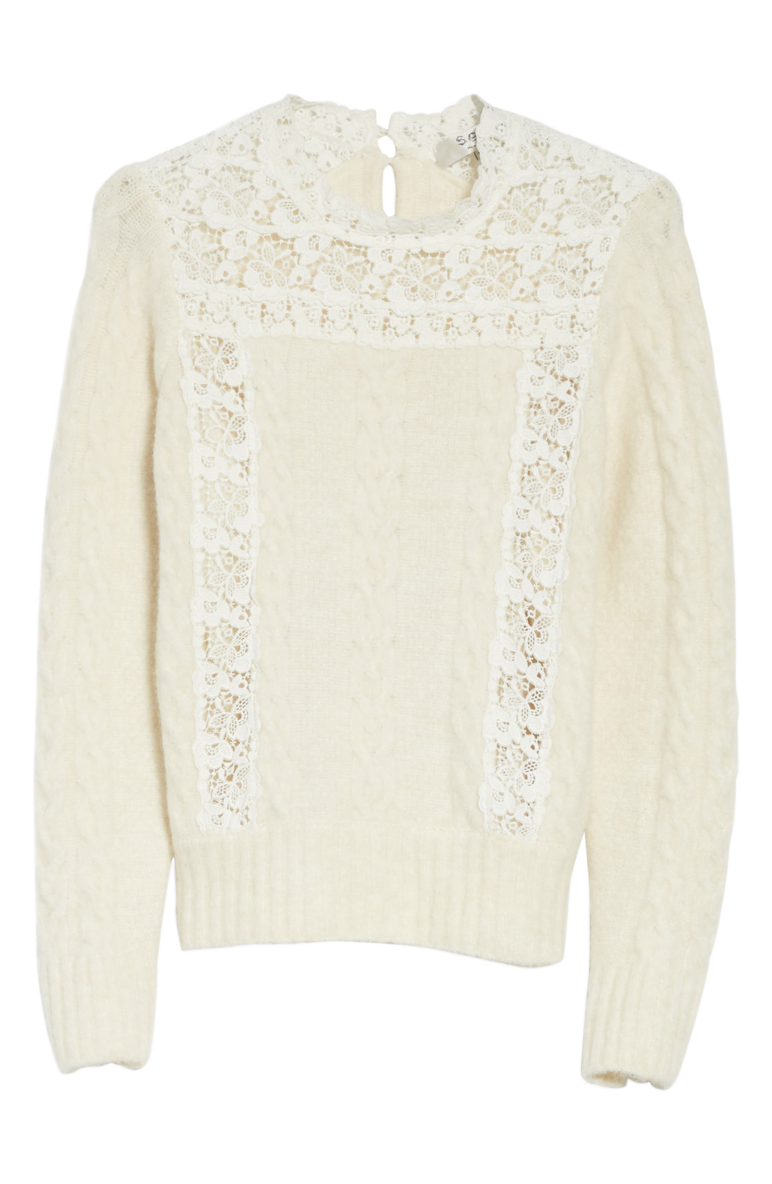 Lace Lace Inset Sweater,                             Alternate thumbnail 6, color,                             Cream