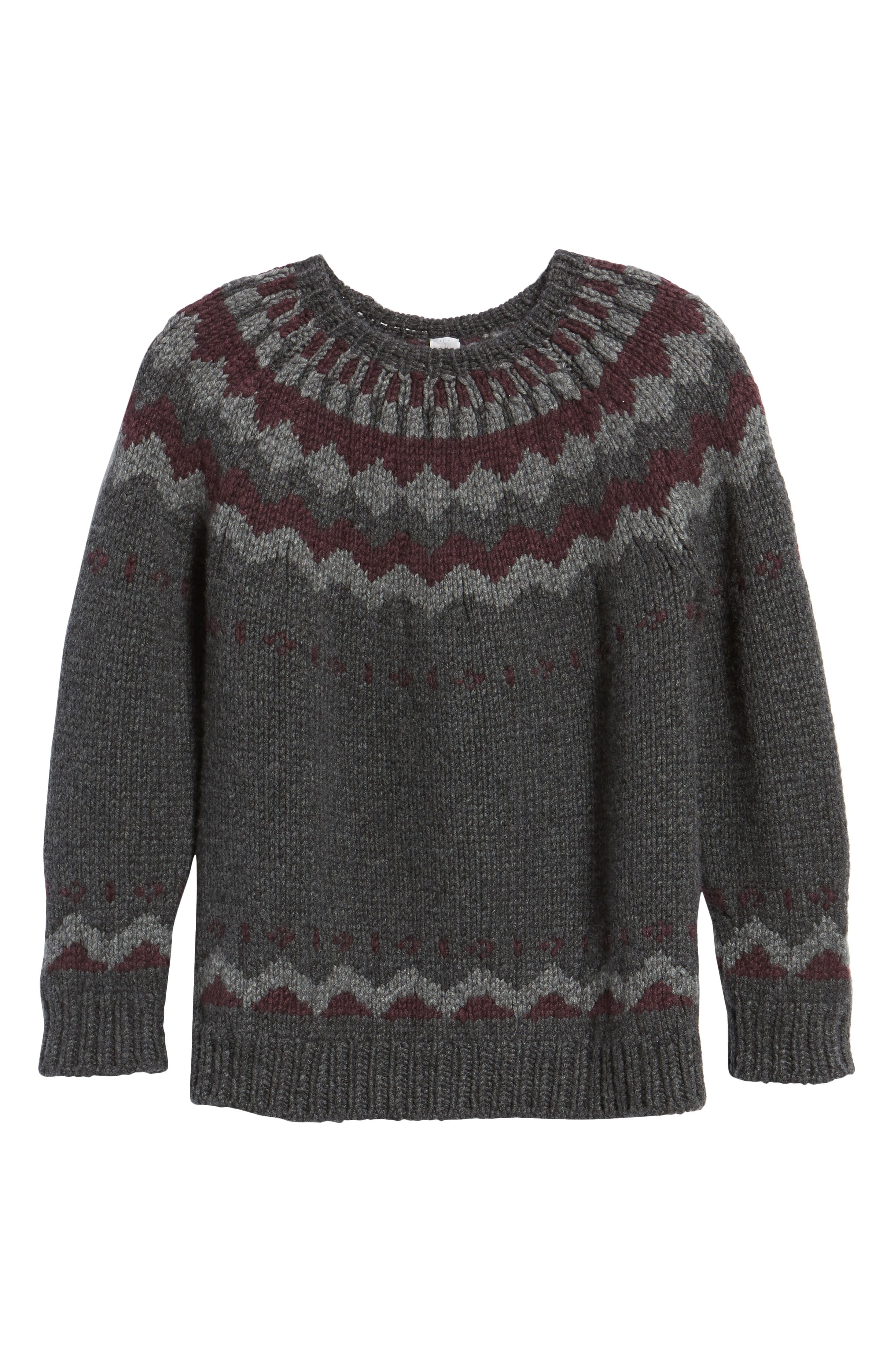 Intarsia Cashmere Sweater,                             Alternate thumbnail 6, color,                             Grey / Burgundy/ Light Grey