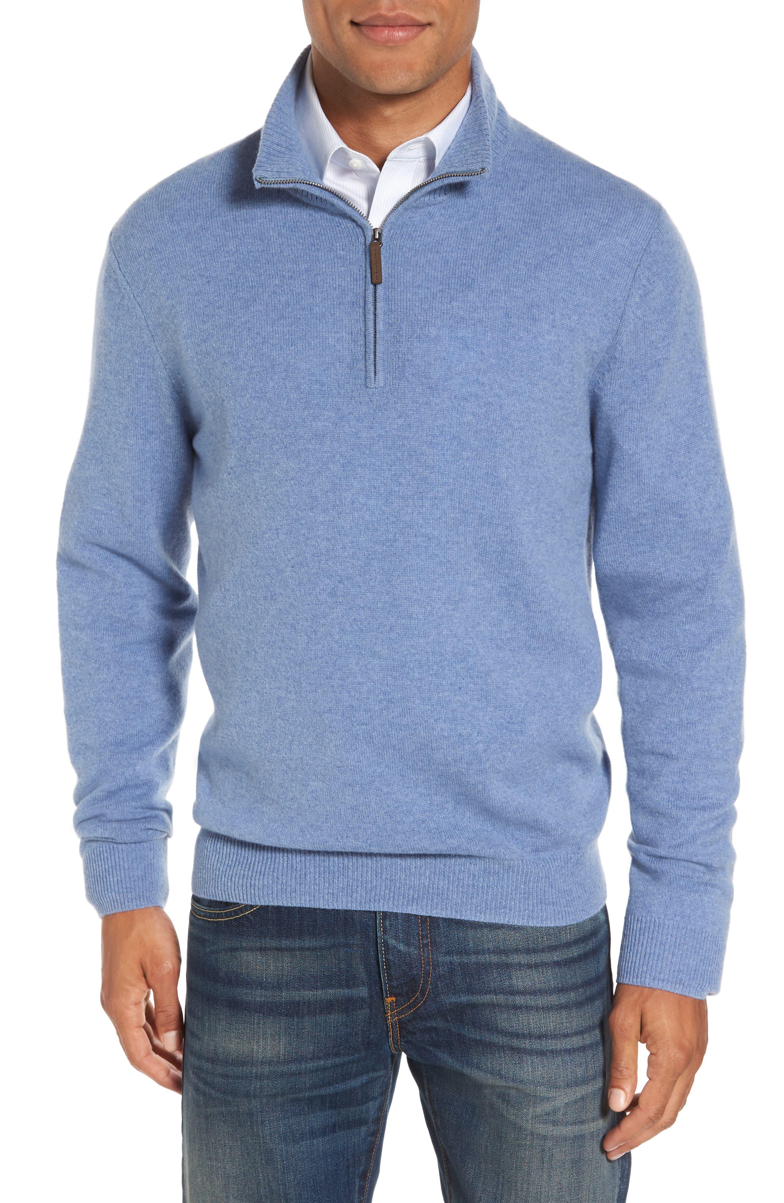 Nordstrom Men's Shop Cashmere Quarter Zip Sweater (Big)