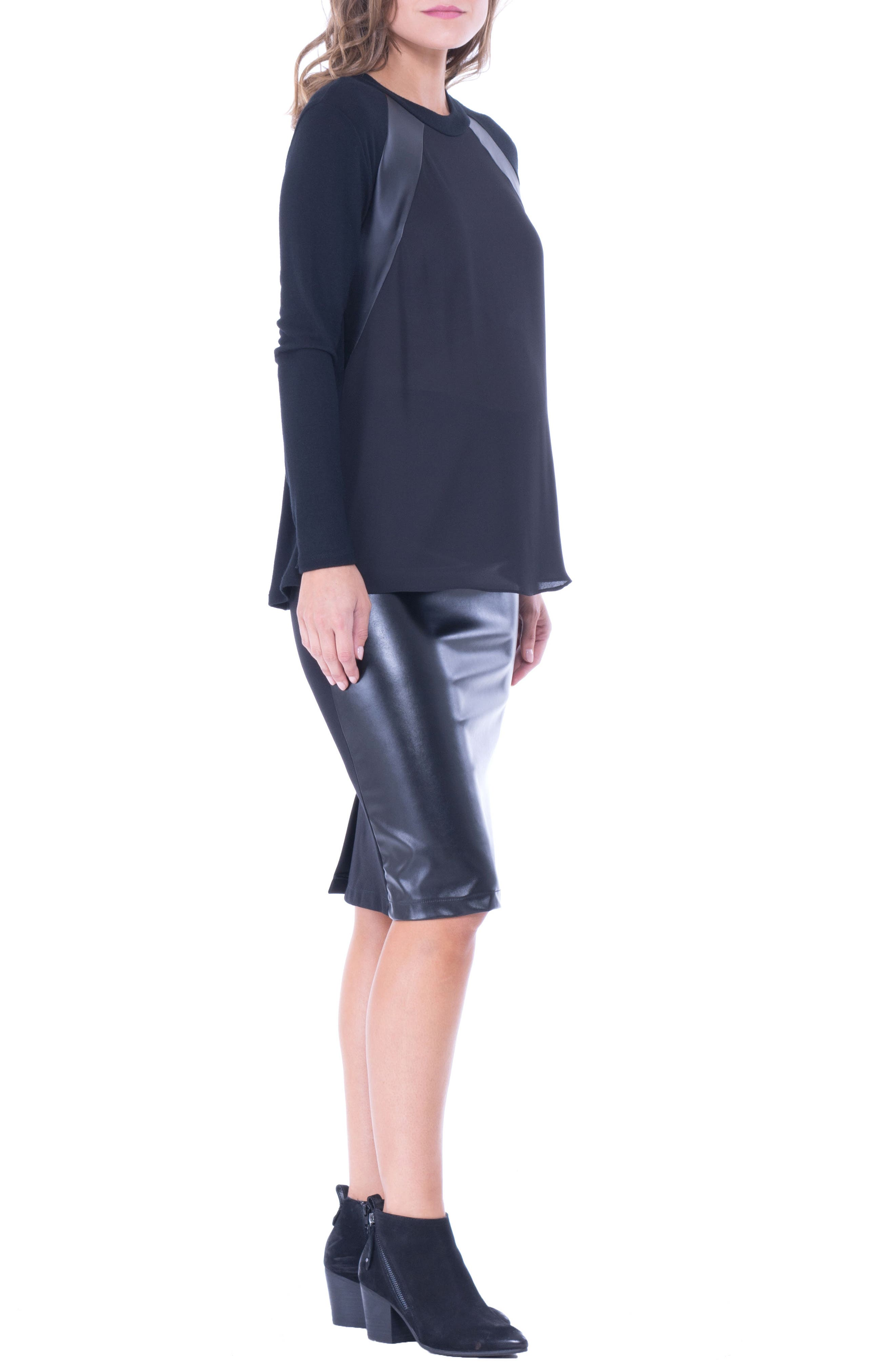 Alternate Image 3  - Olian Faux Leather Trim Maternity Top