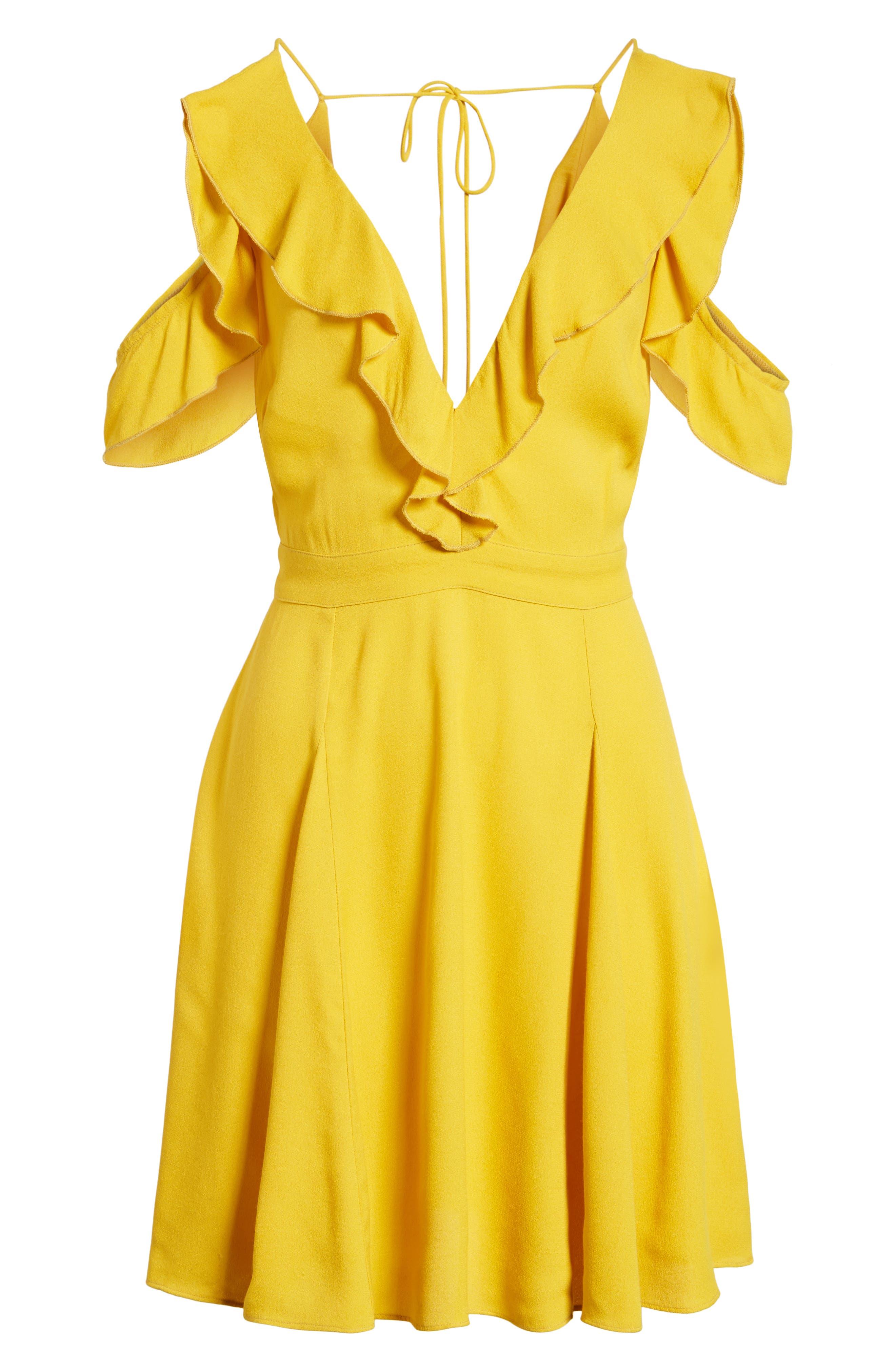 Enzo Cold Shoulder Fit & Flare Dress,                             Alternate thumbnail 6, color,                             Sun