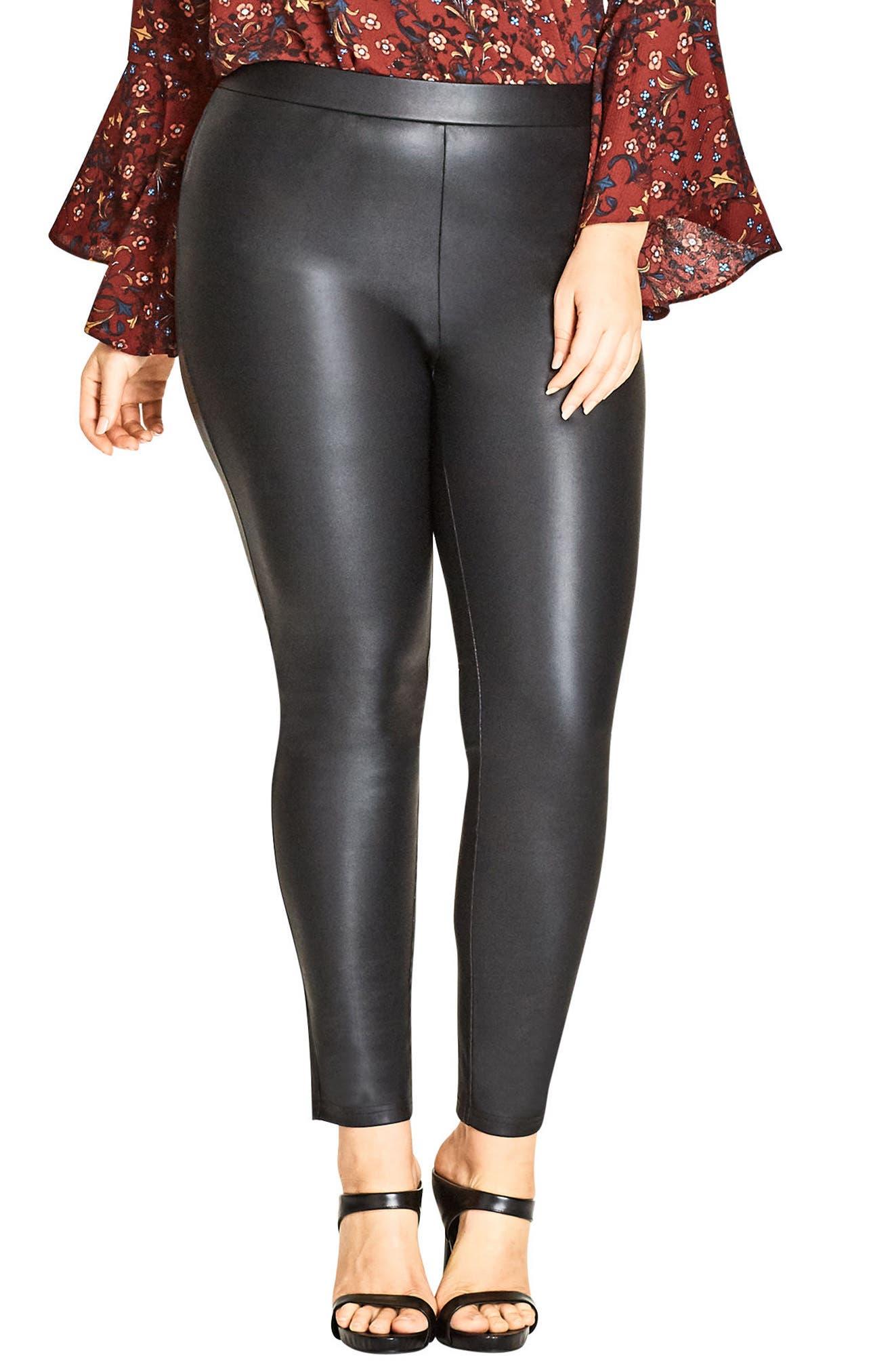 Main Image - City Chic Asha Wet Look Leggings (Plus Size)