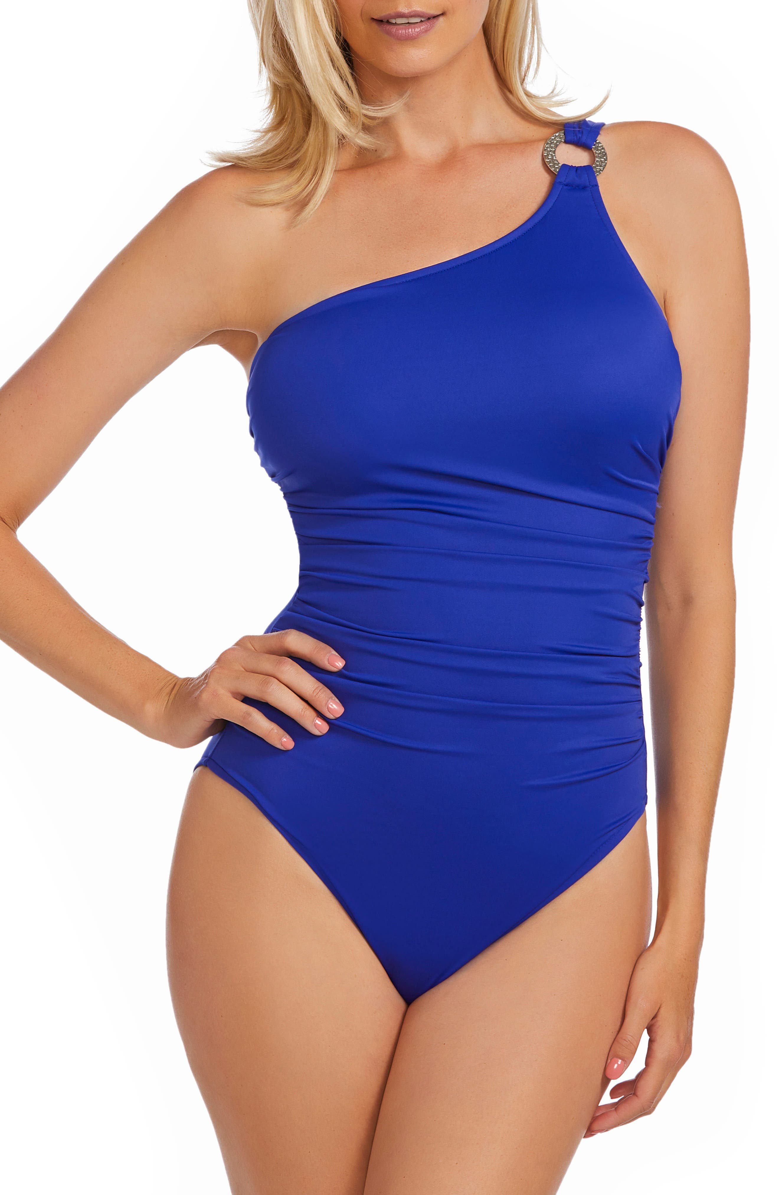 Janie One-Shoulder One-Piece Swimsuit,                         Main,                         color, Twilight