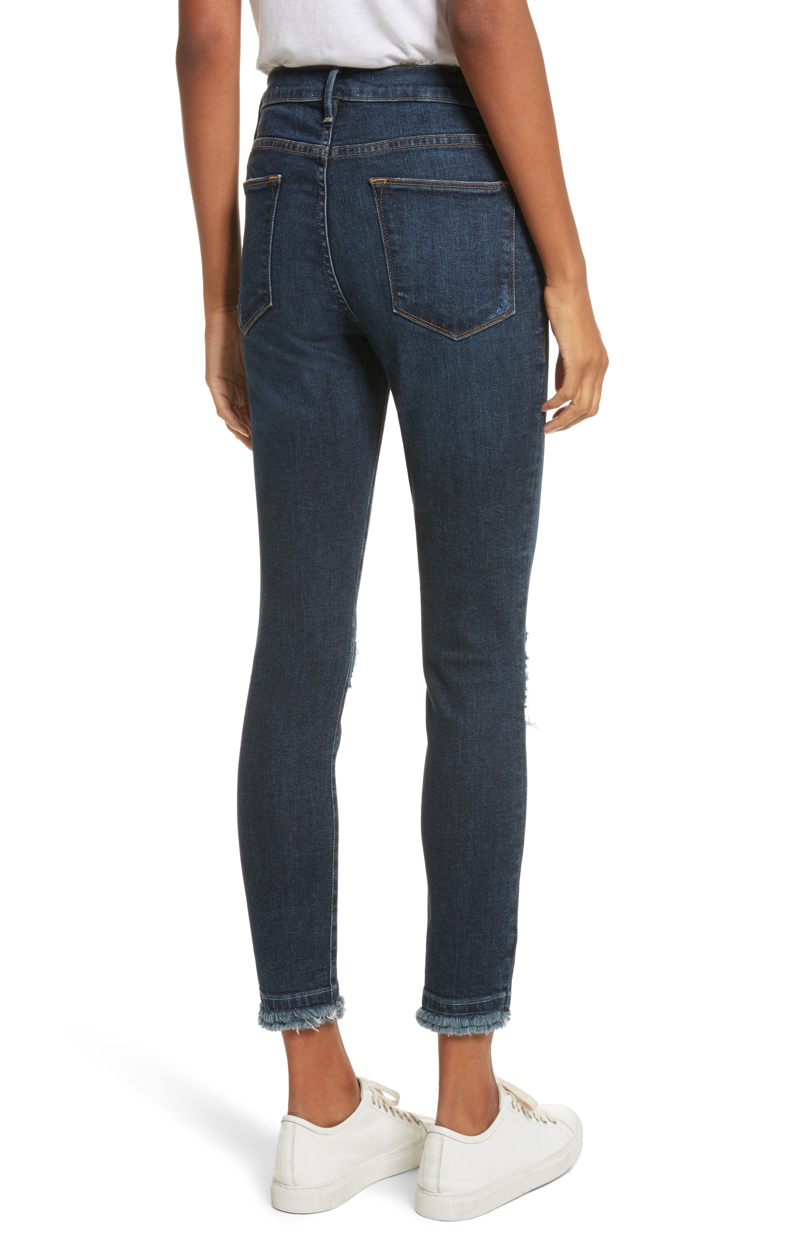 Le High High Waist Ankle Skinny Jeans,                             Alternate thumbnail 3, color,                             Montclair