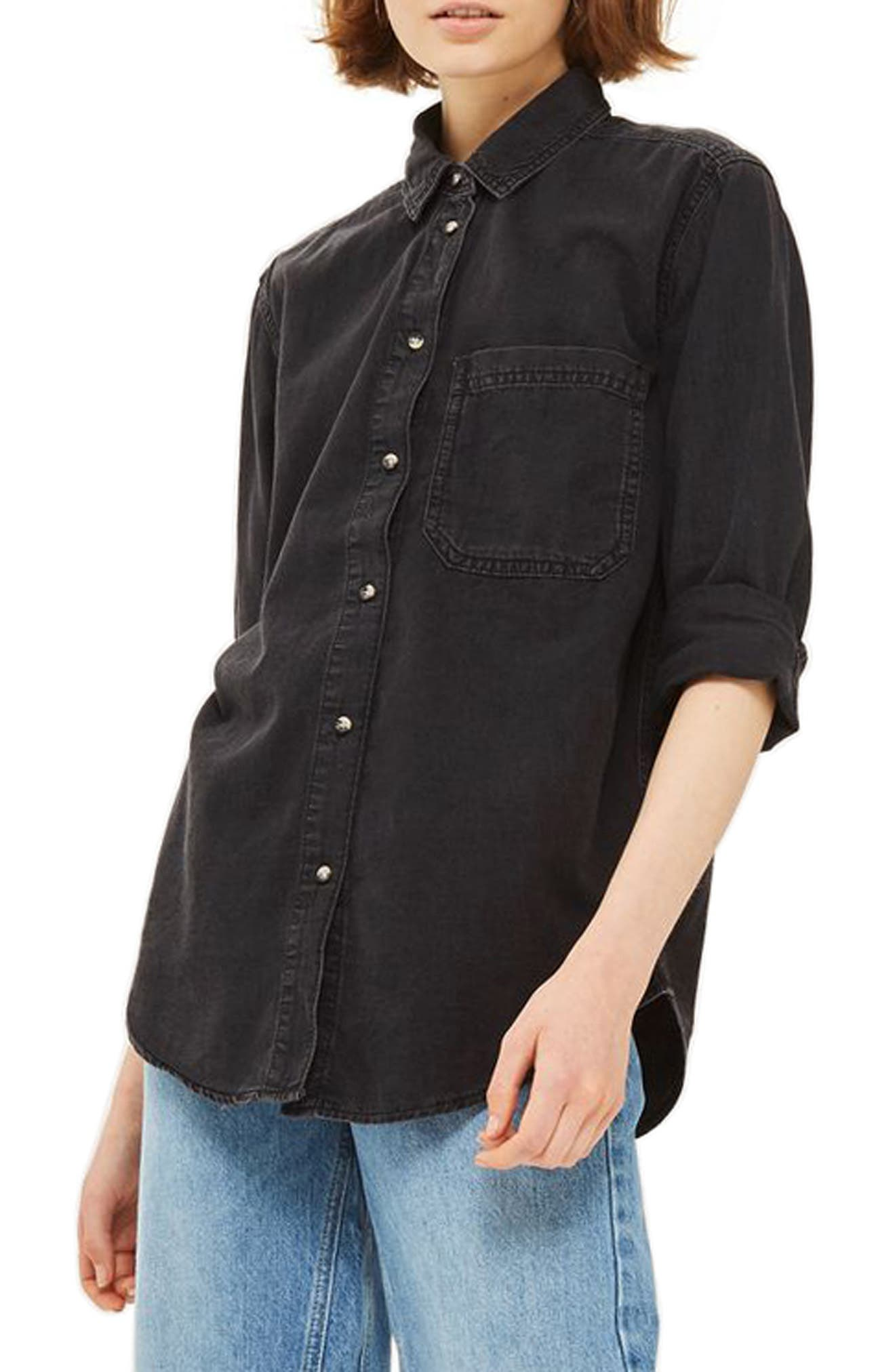 Drake Oversize Denim Shirt,                         Main,                         color, Washed Black