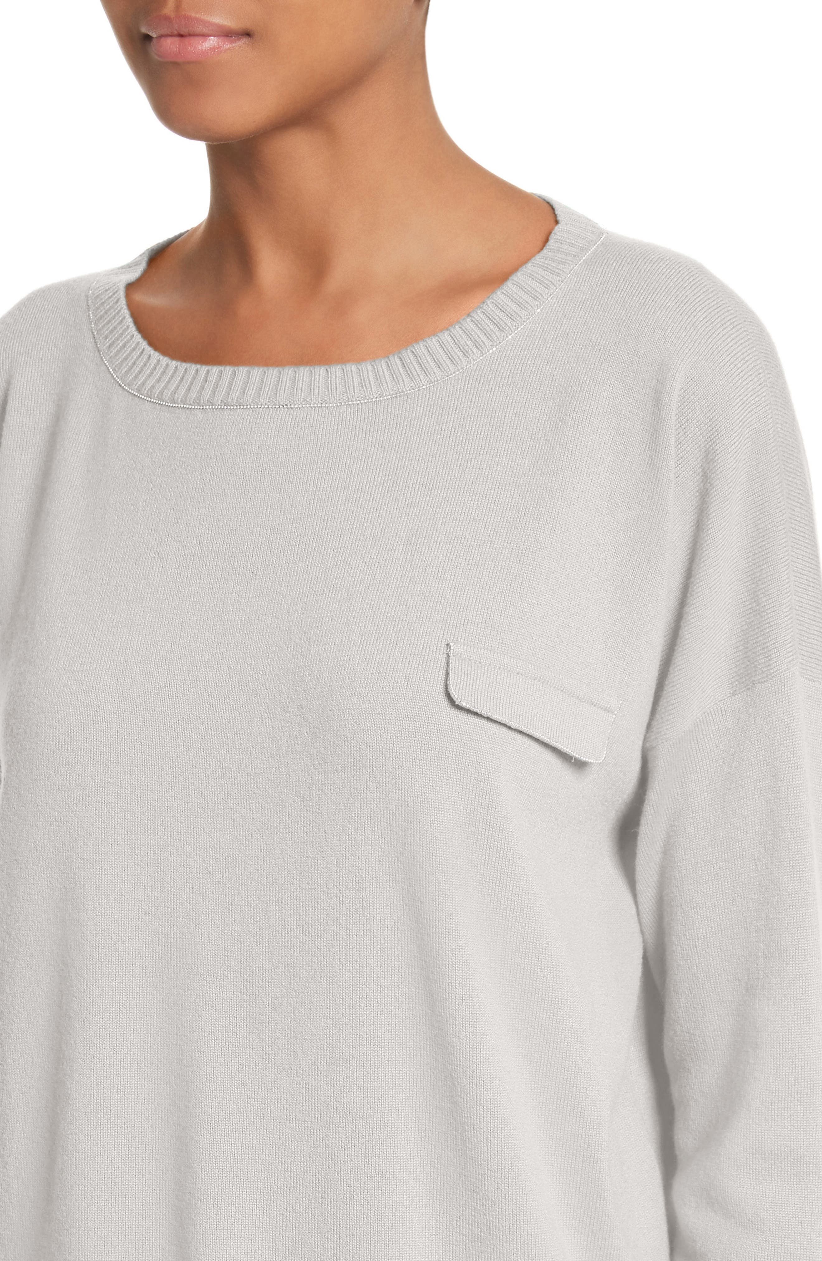 Beaded Cashmere Sweater,                             Alternate thumbnail 4, color,                             Grey