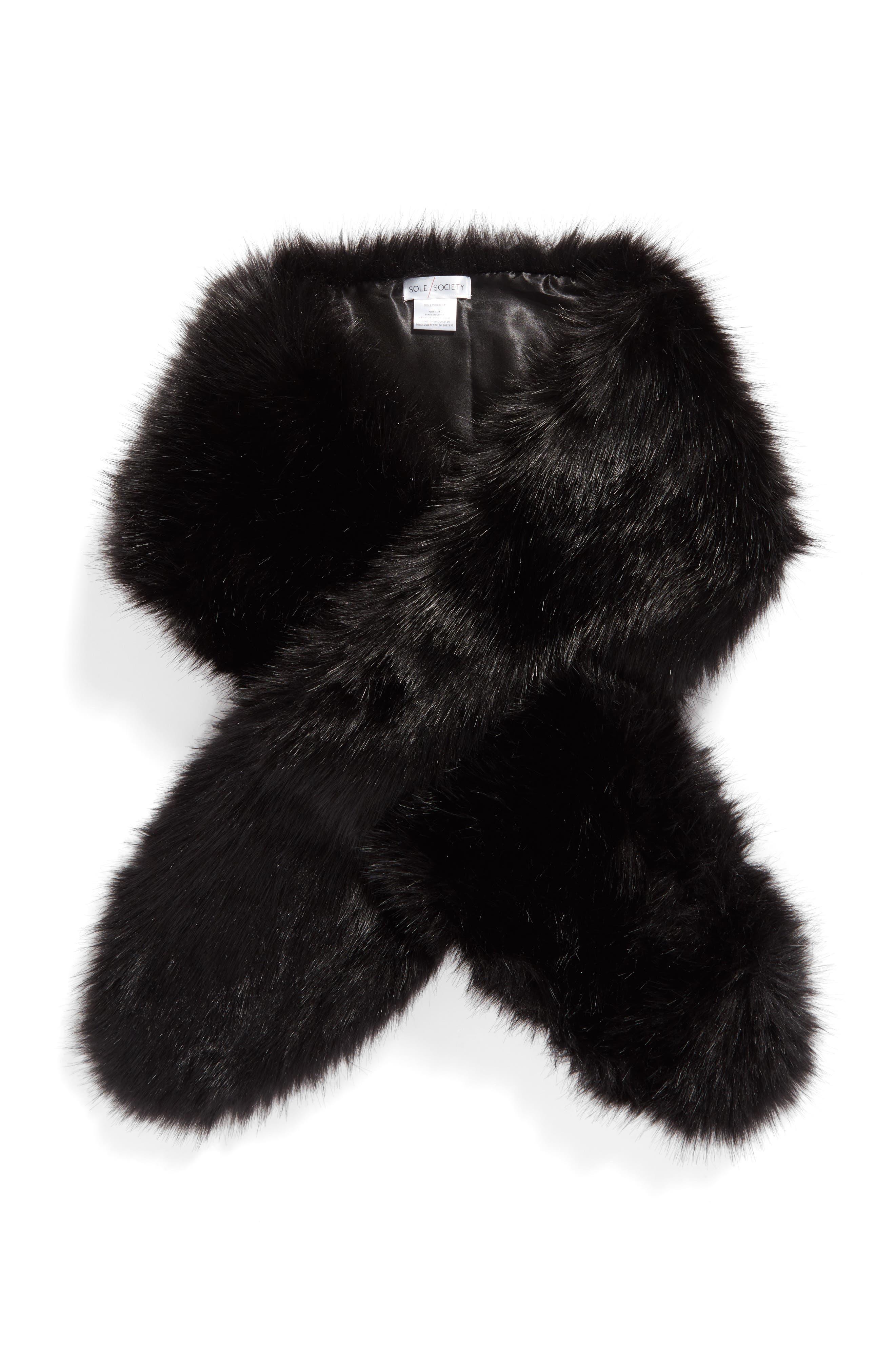 Oversize Faux Fur Wrap,                             Alternate thumbnail 4, color,                             Black