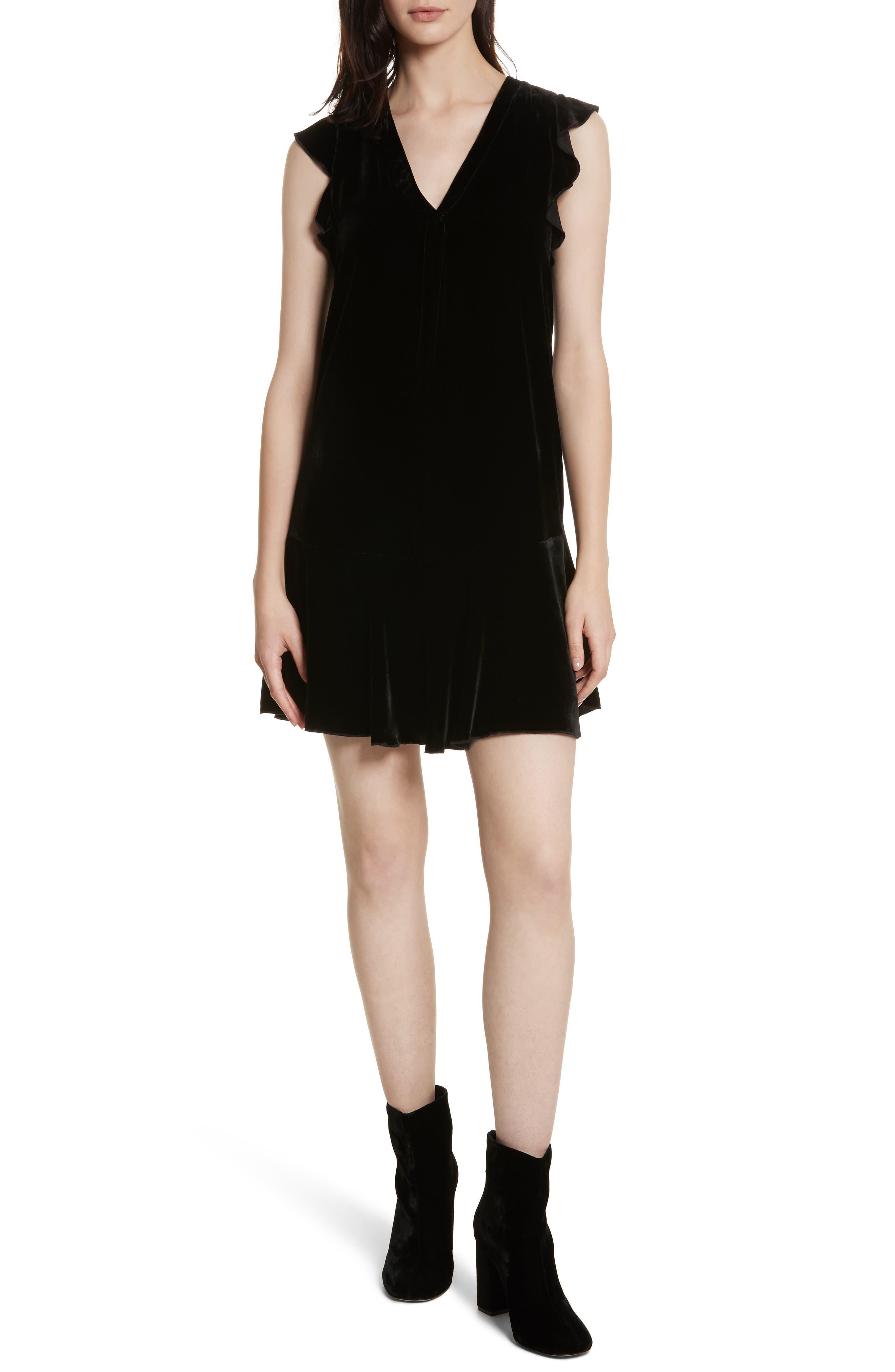 Almarie Velvet Shift Dress,                             Main thumbnail 1, color,                             Caviar
