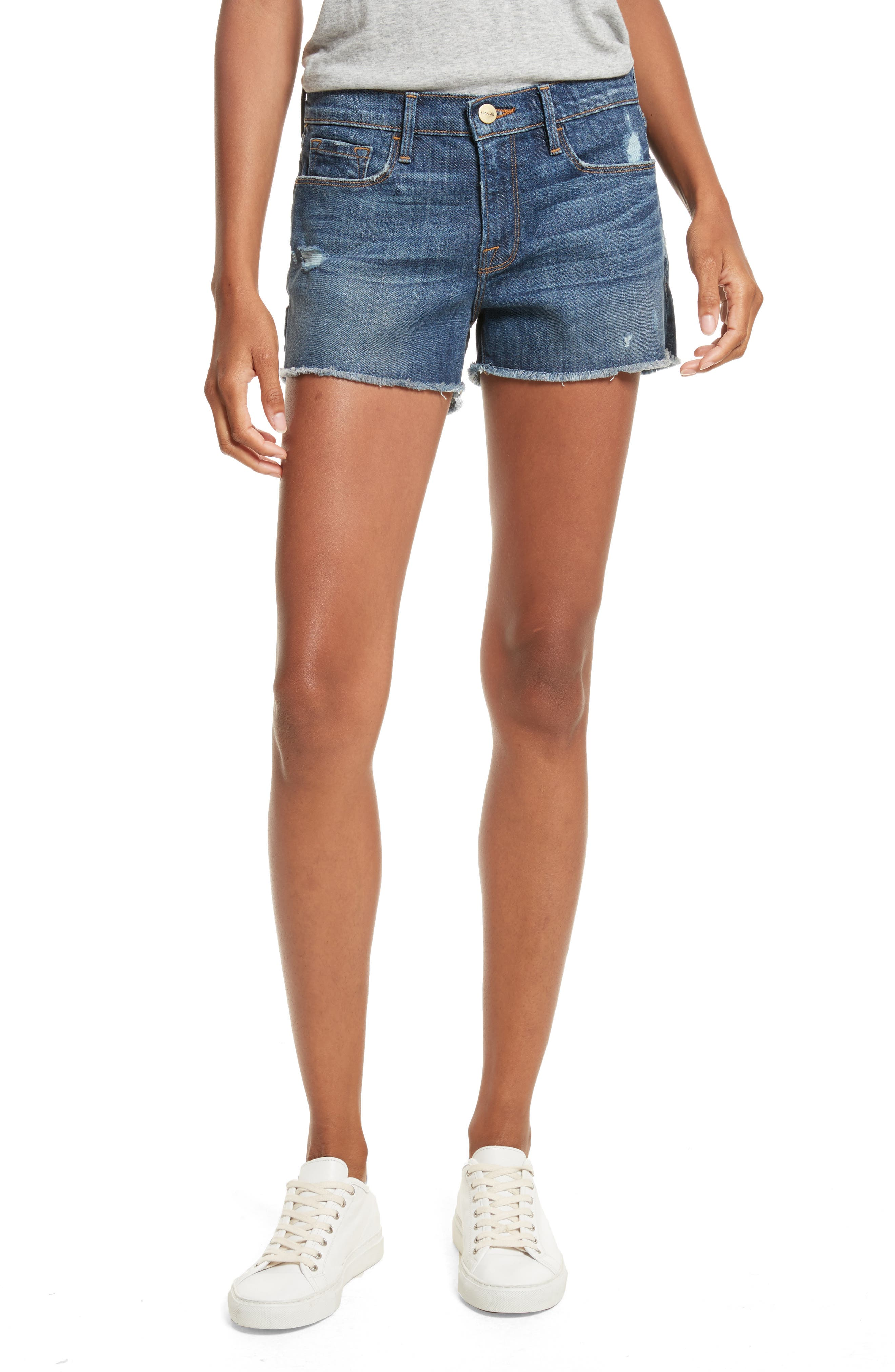 Le Cutoff Denim Shorts,                             Main thumbnail 1, color,                             Eckford