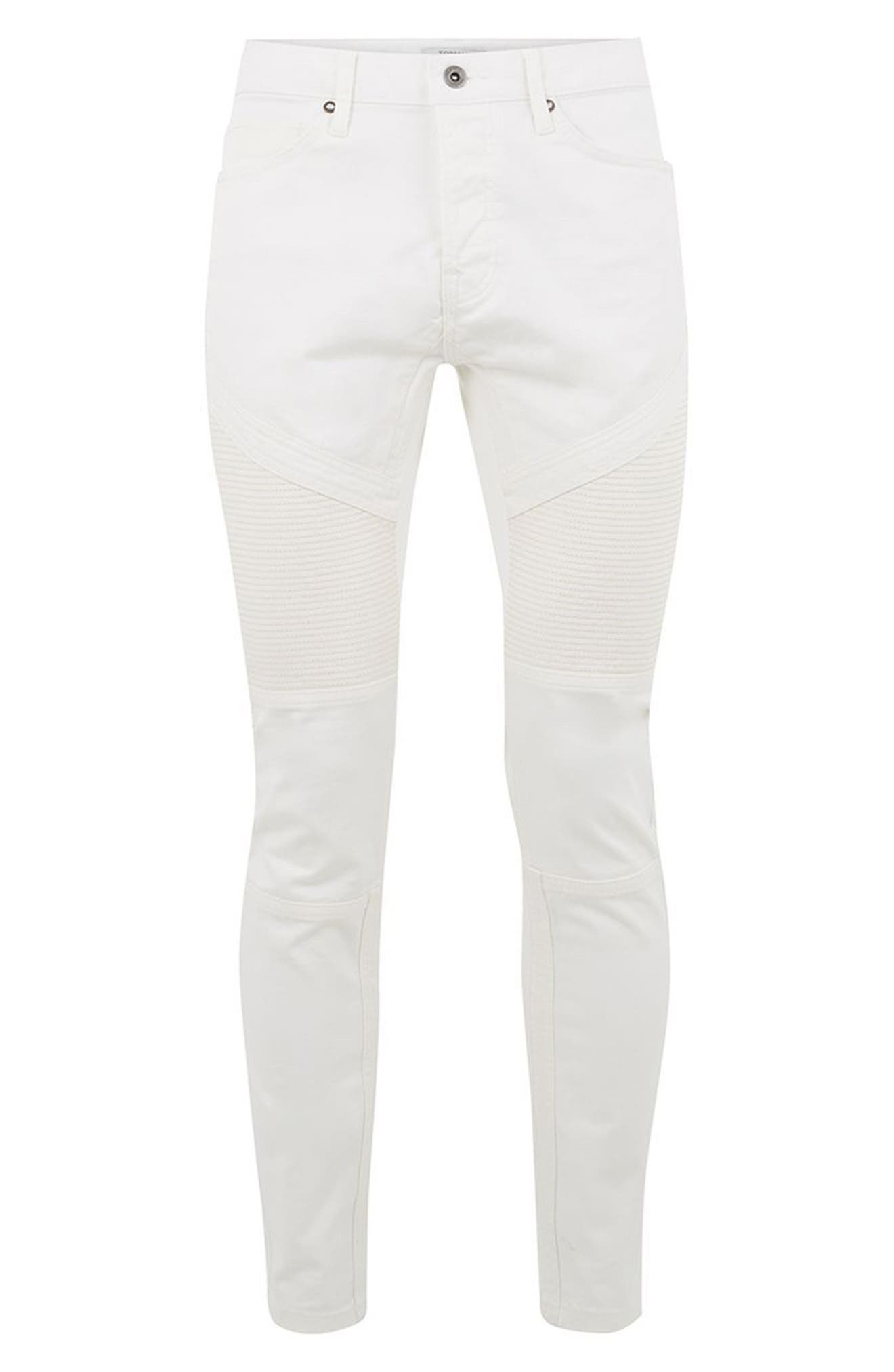Biker Stretch Skinny Jeans,                             Alternate thumbnail 4, color,                             Cream