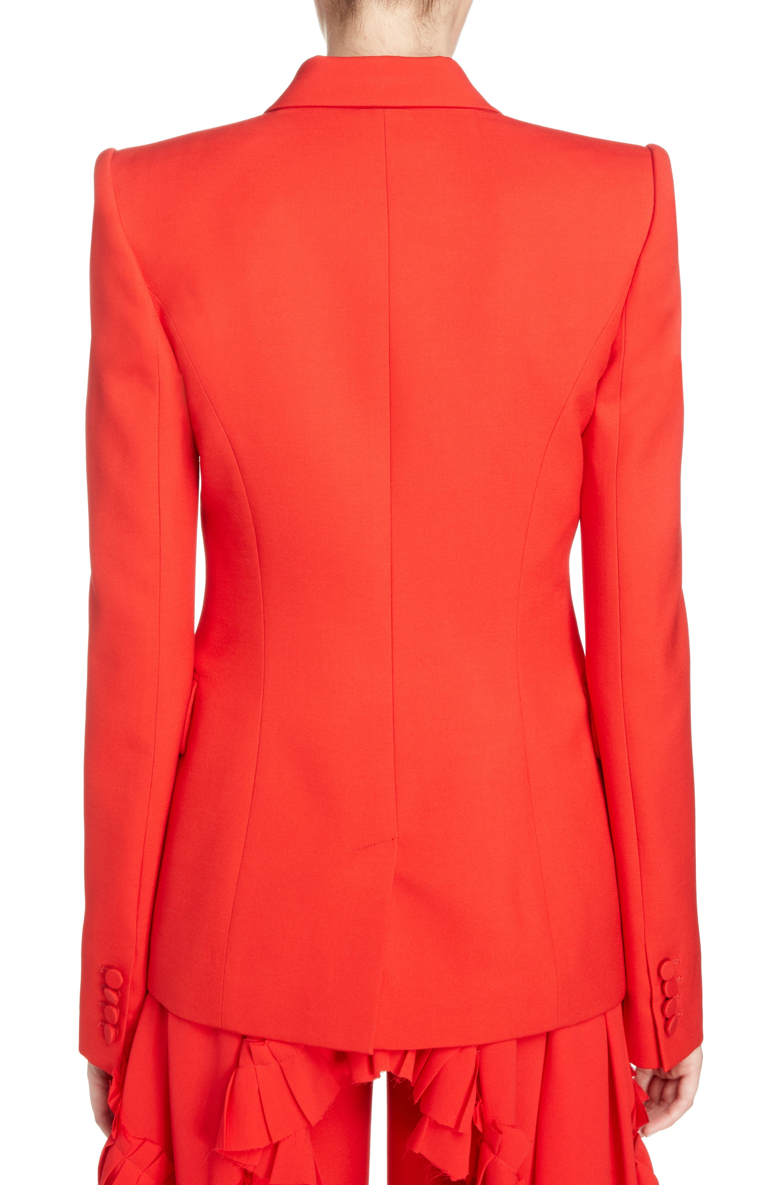 Wool & Silk Blend Blazer,                             Alternate thumbnail 2, color,                             Lust Red