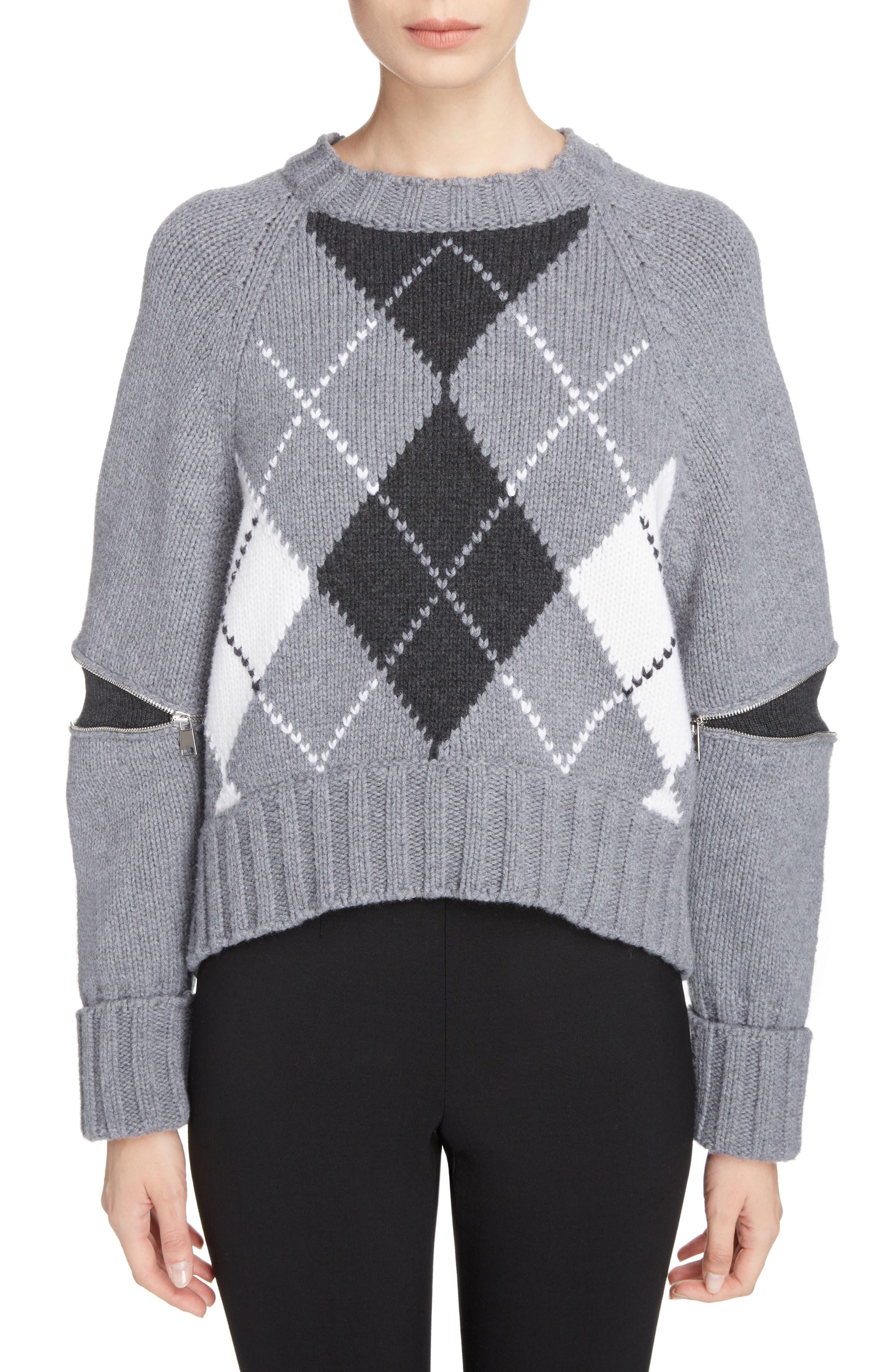 Zip Sleeve Wool Argyle Sweater,                         Main,                         color, Grey Melange/ Charcoal/ Ivory