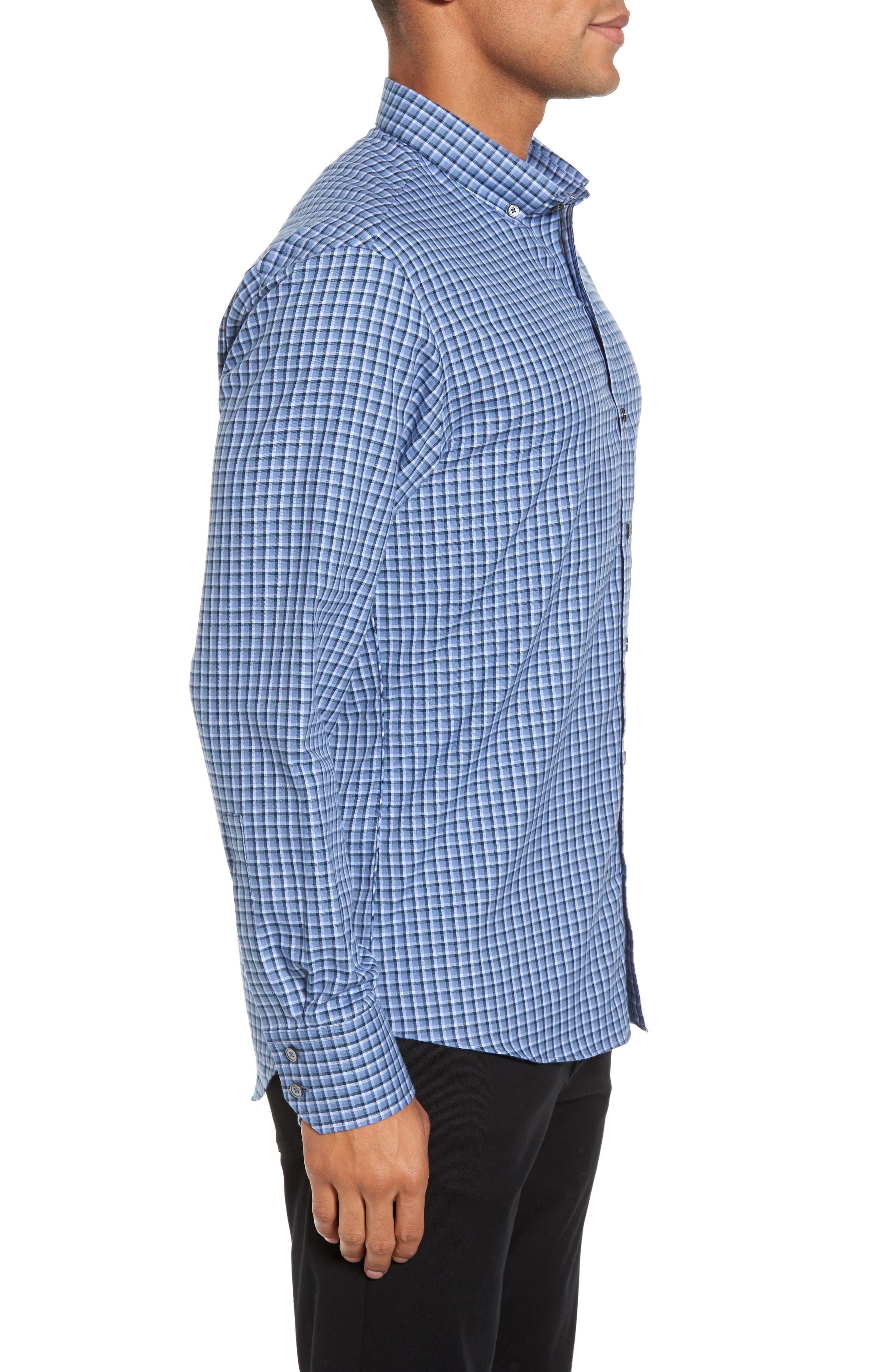 Kapur Slim Fit Check Sport Shirt,                             Alternate thumbnail 3, color,                             Azure