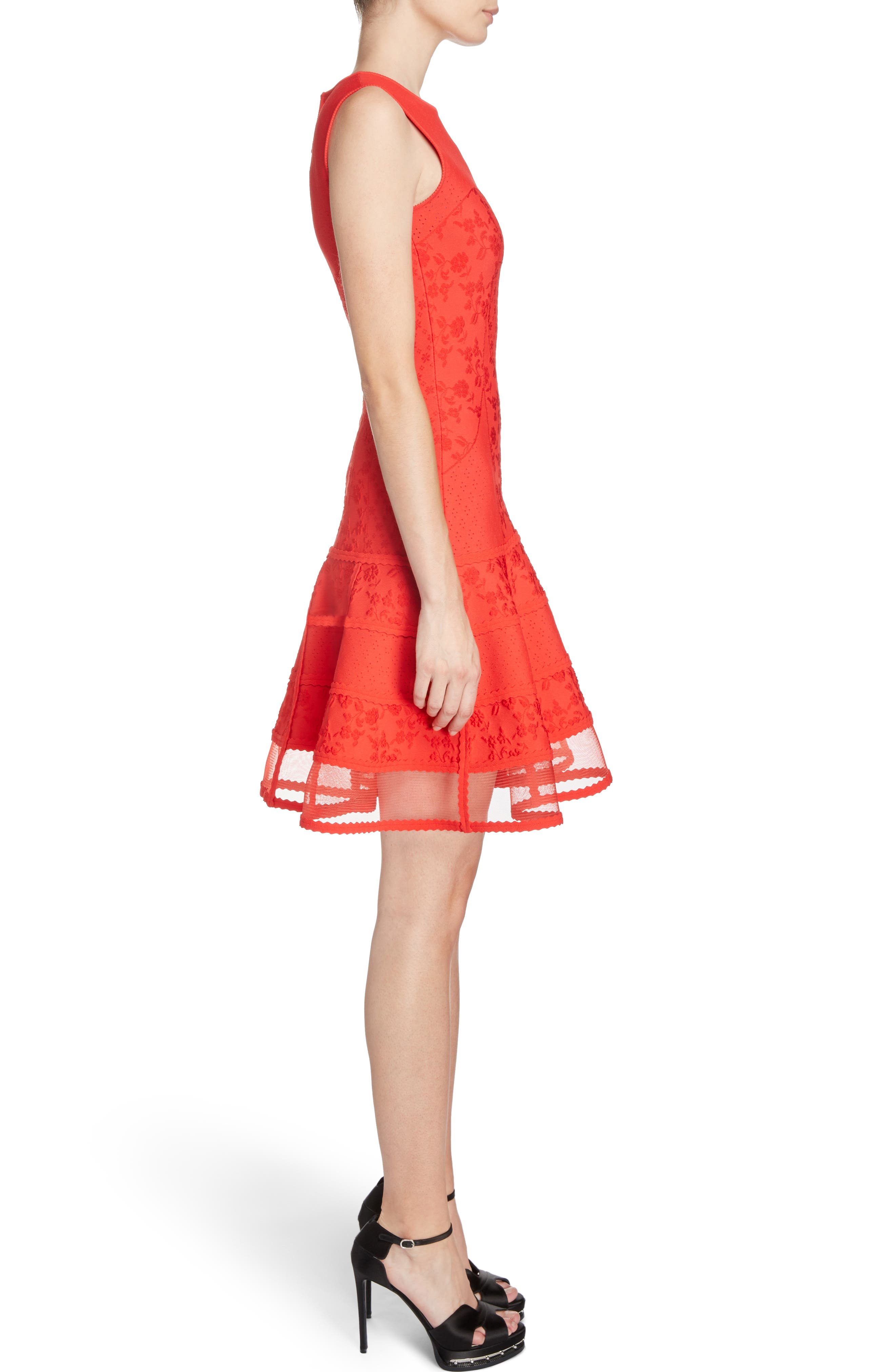 Knit Patchwork Dress,                             Alternate thumbnail 3, color,                             Lust Red