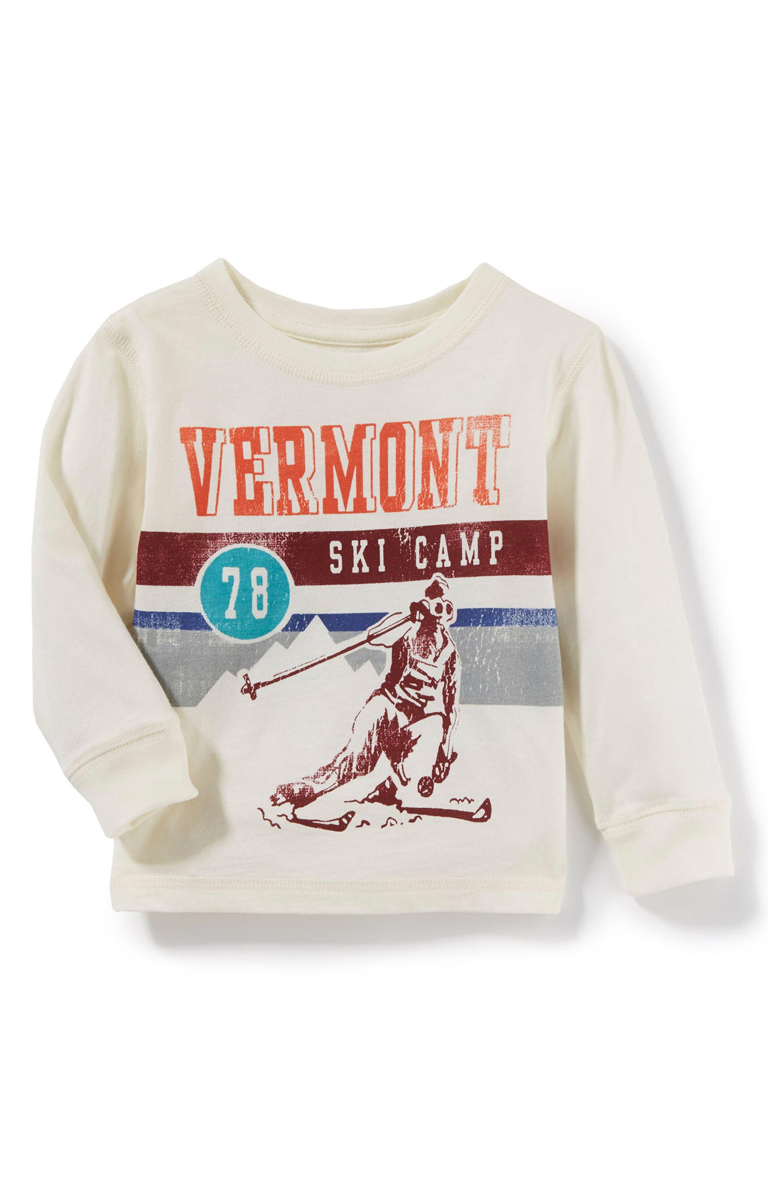 Vermont Ski T-Shirt,                             Main thumbnail 1, color,                             Ivory