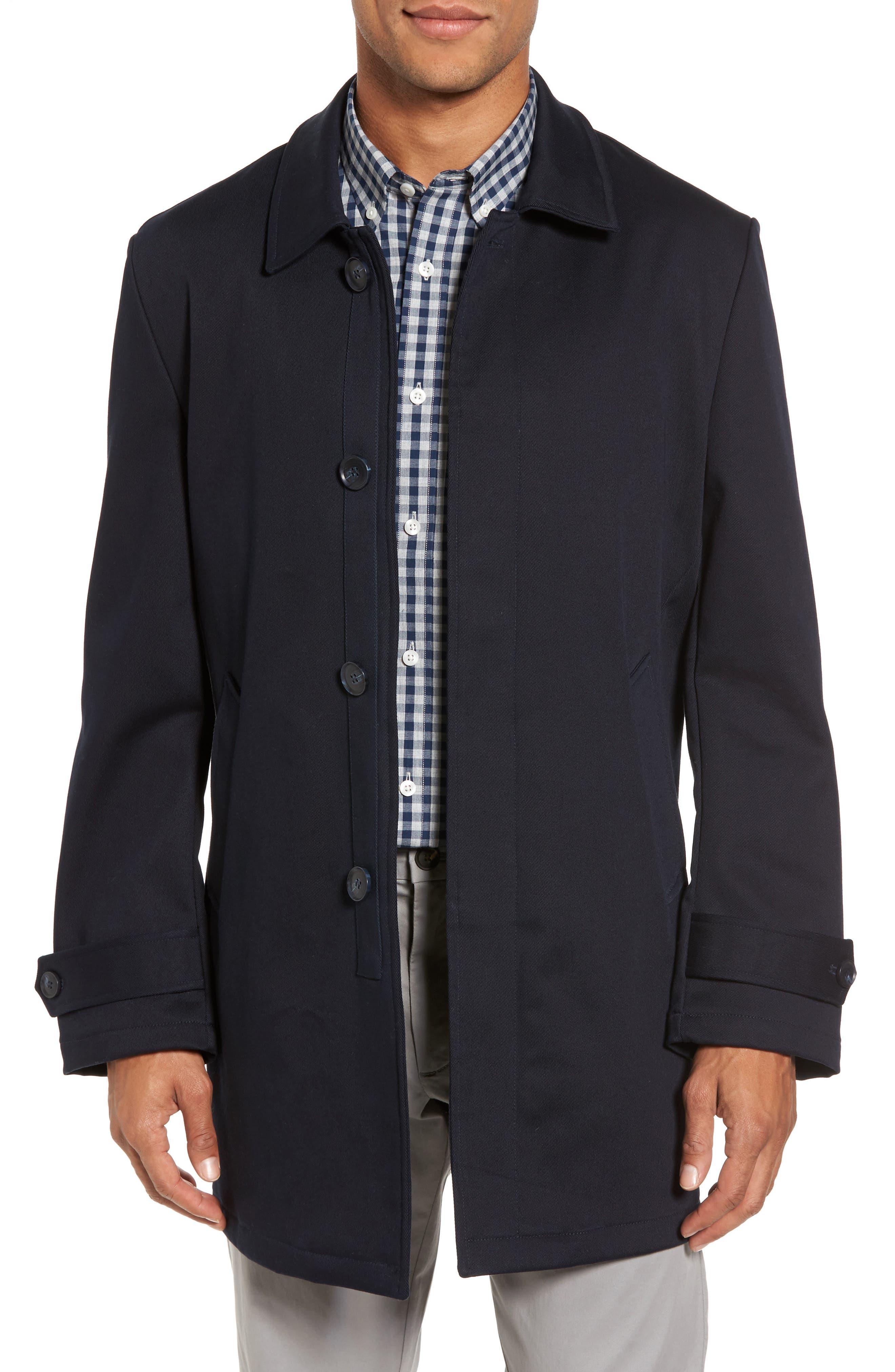 Grayson Stretch Cotton Blend Car Coat,                         Main,                         color, Navy