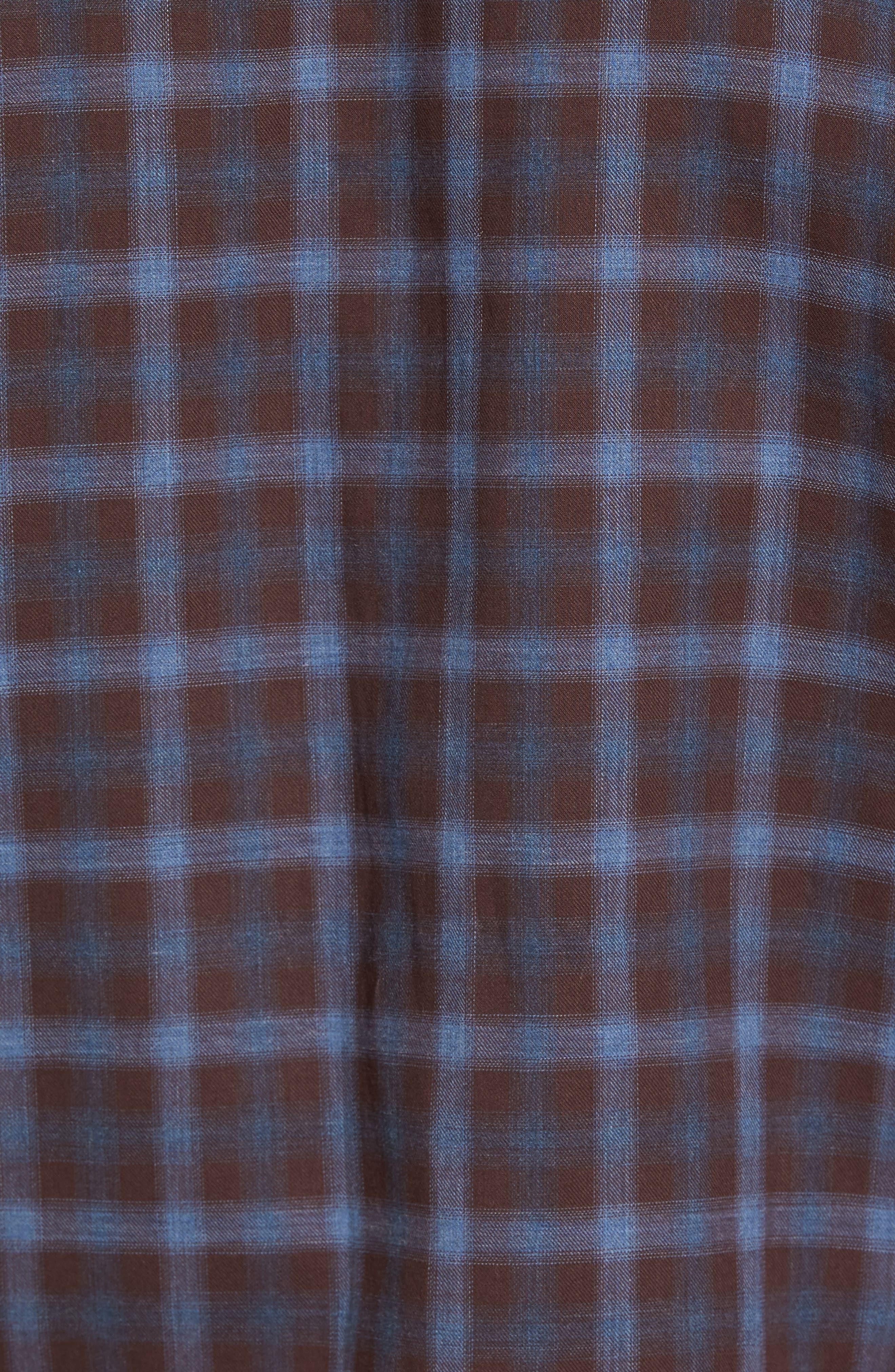 Fathollahi Slim Fit Plaid Sport Shirt,                             Alternate thumbnail 5, color,                             Brown