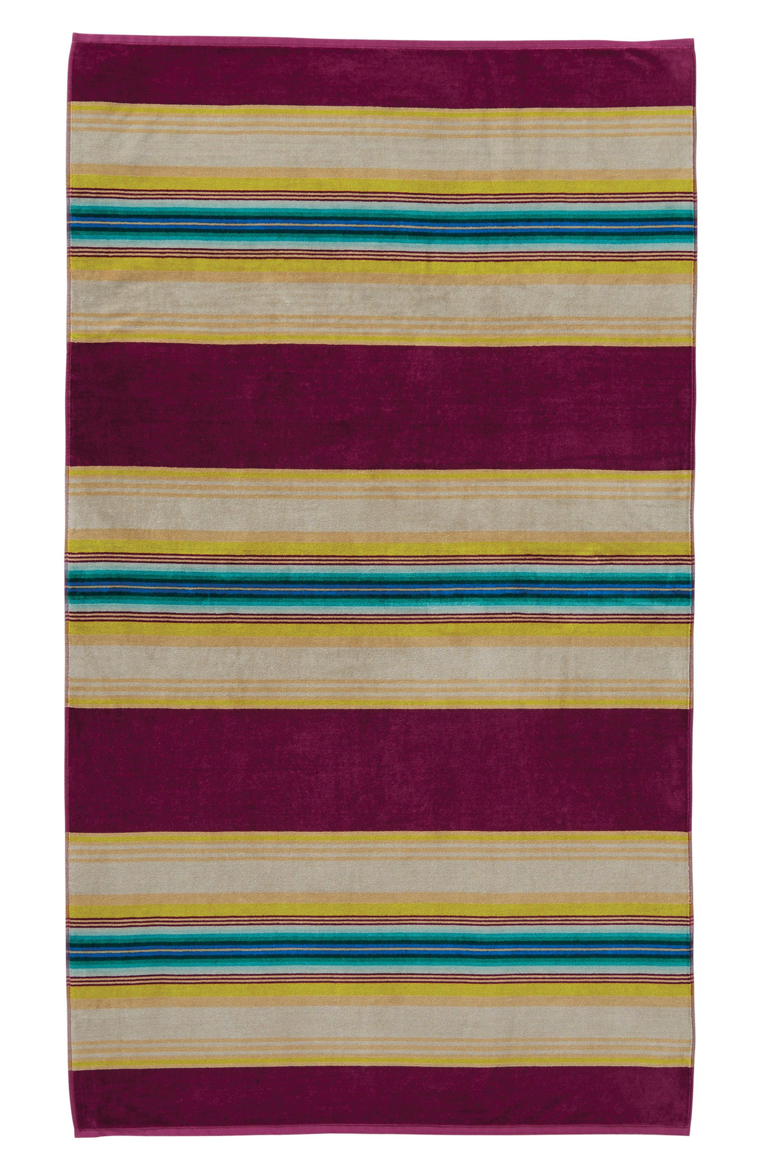 Serape Stripe Beach Towel,                             Main thumbnail 1, color,                             Magenta