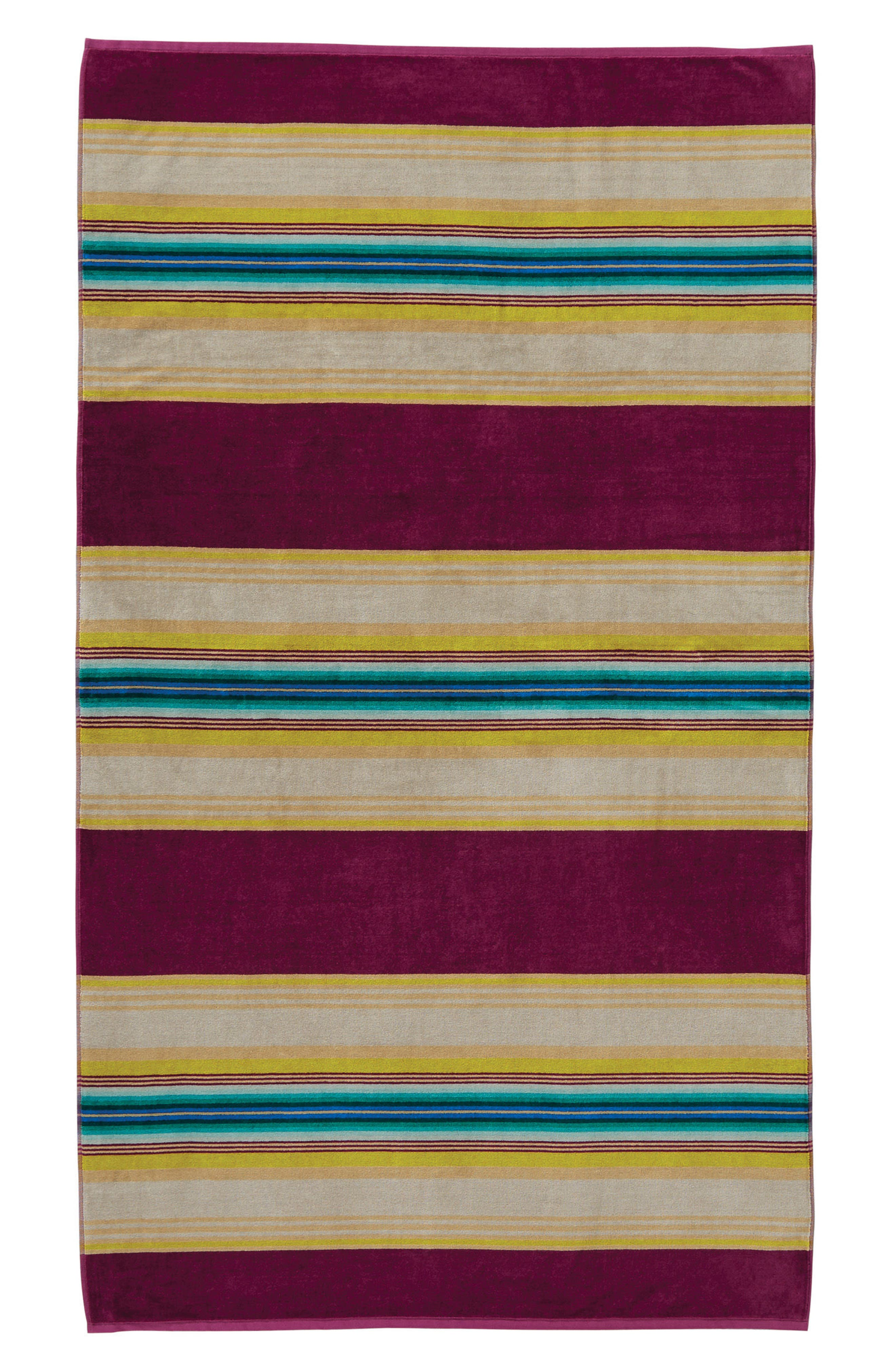 Serape Stripe Beach Towel,                         Main,                         color, Magenta