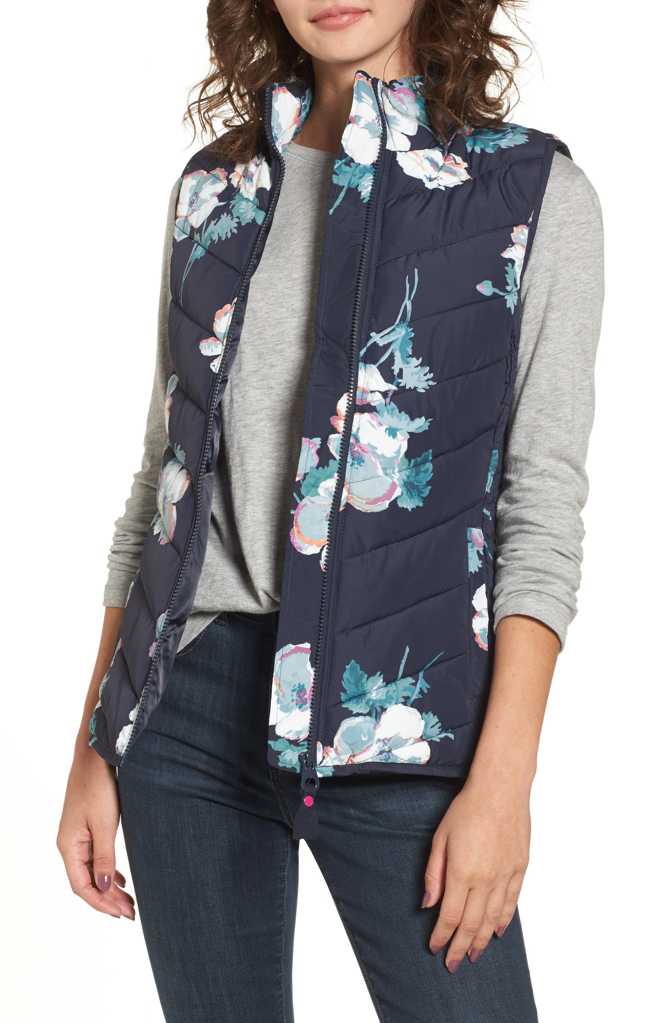 Print Quilted Vest,                         Main,                         color, Navy Poppy
