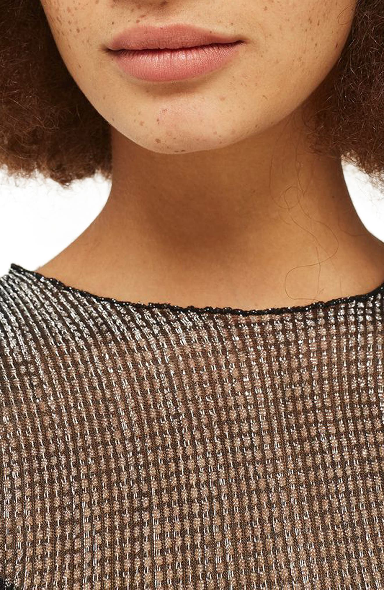 Alternate Image 4  - Topshop Chainmail Lettuce Edge Sheer Top