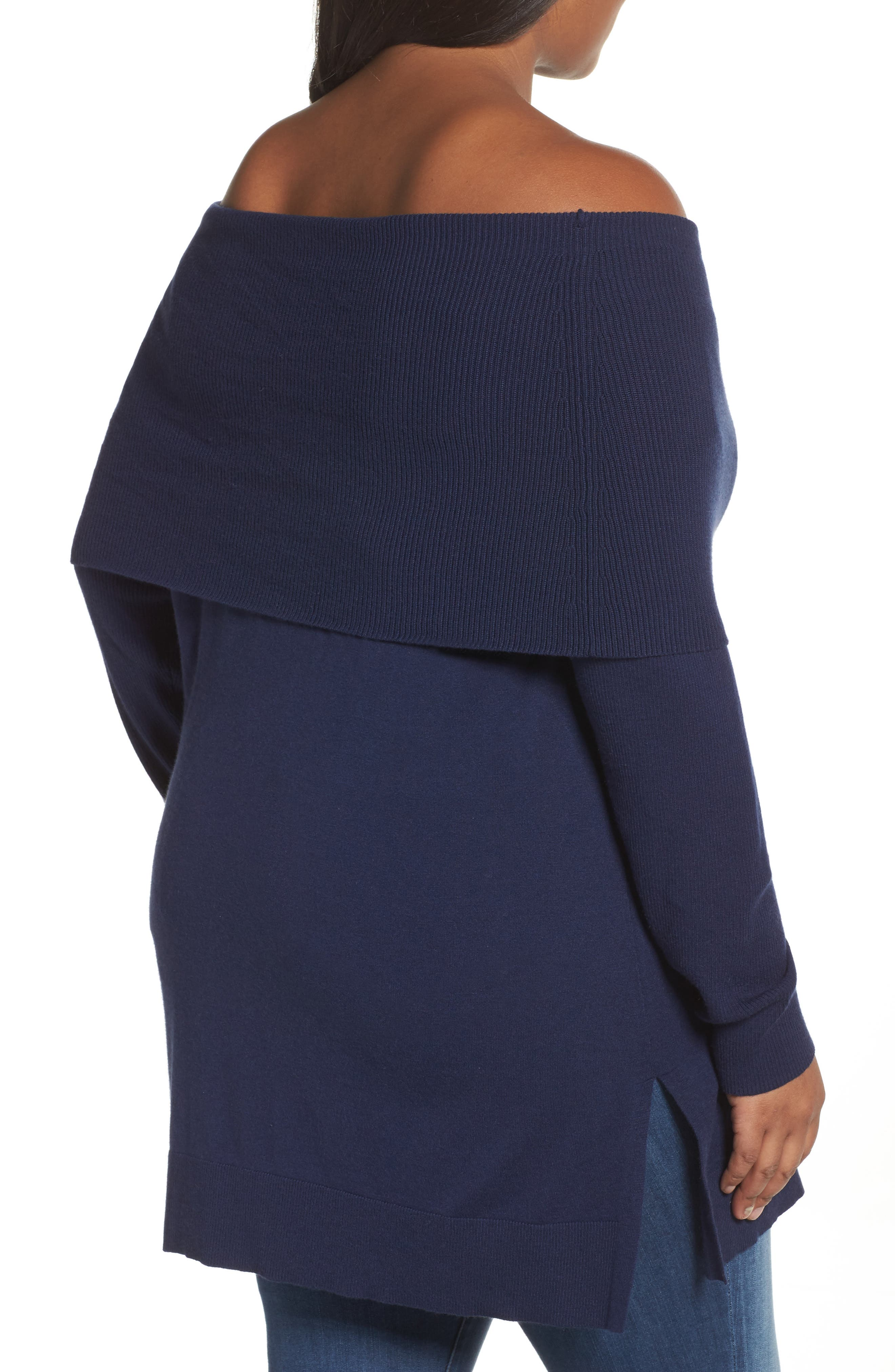 Cowl Neck Tunic Sweater,                             Alternate thumbnail 2, color,                             Navy Peacoat