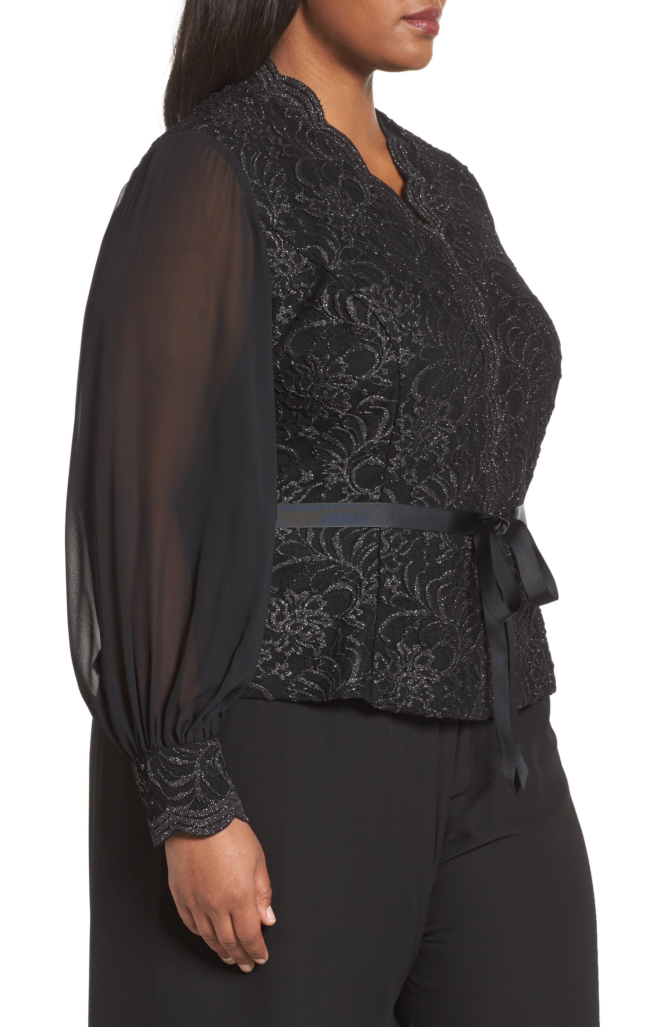 Alternate Image 3  - Alex Evenings Sequin Lace Blouse with Tie Waist (Plus Size)
