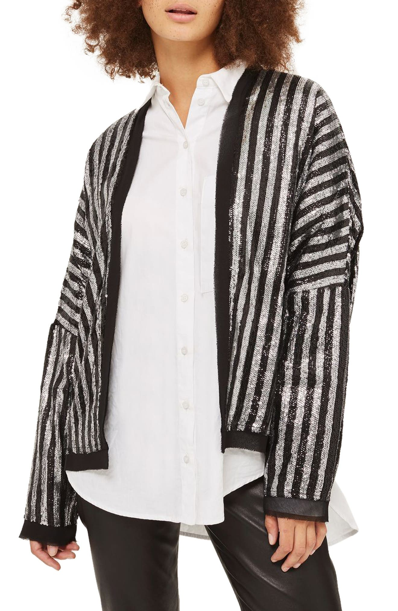 Batwing Sequin Stripe Jacket,                             Main thumbnail 1, color,                             Black Multi