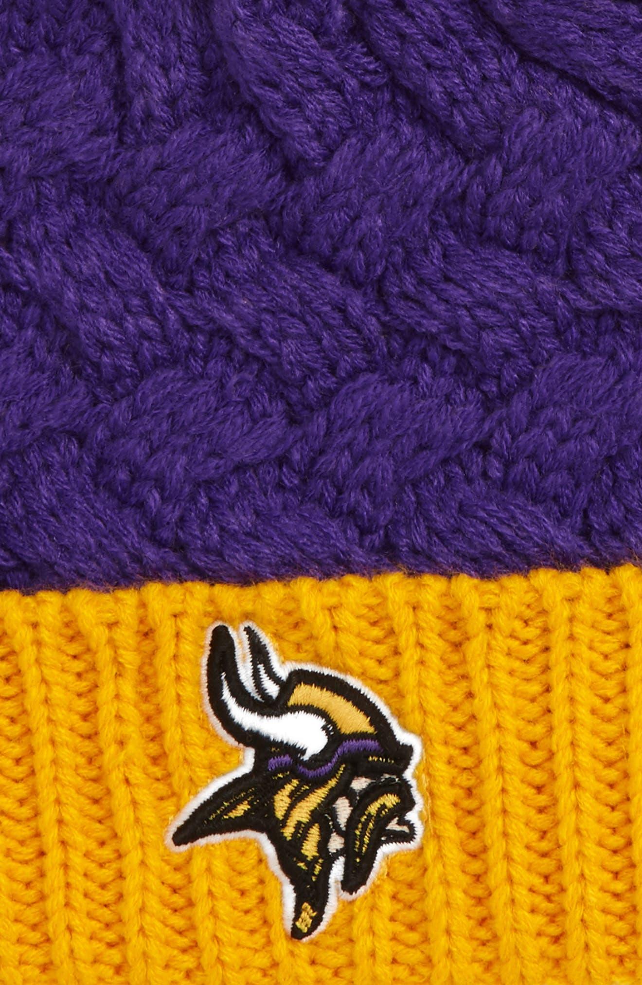 Matterhorn Minnesota Vikings Pom Beanie,                             Alternate thumbnail 2, color,                             Purple