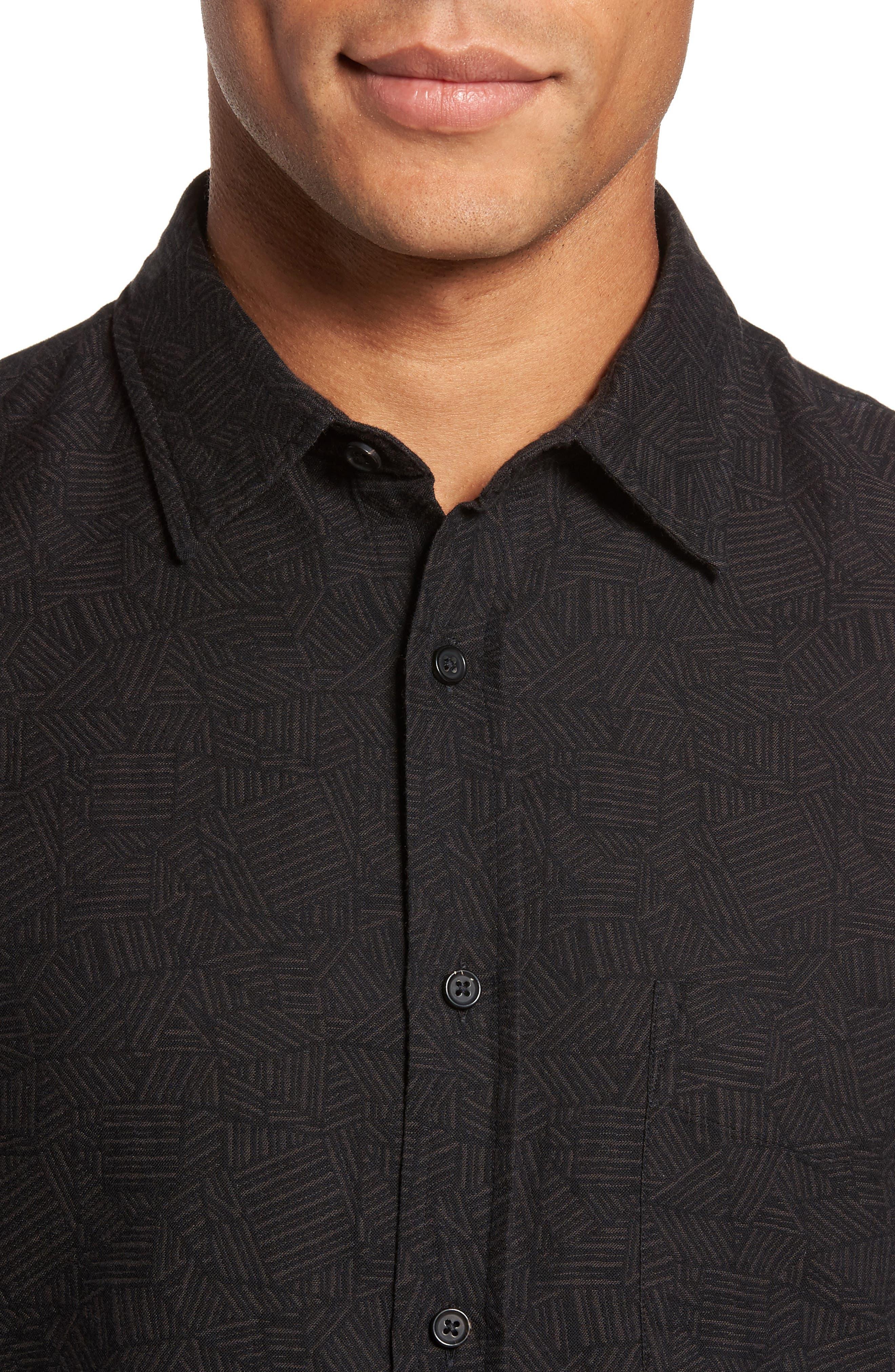Kirby Slim Fit Print Sport Shirt,                             Alternate thumbnail 4, color,                             Black/ Gold