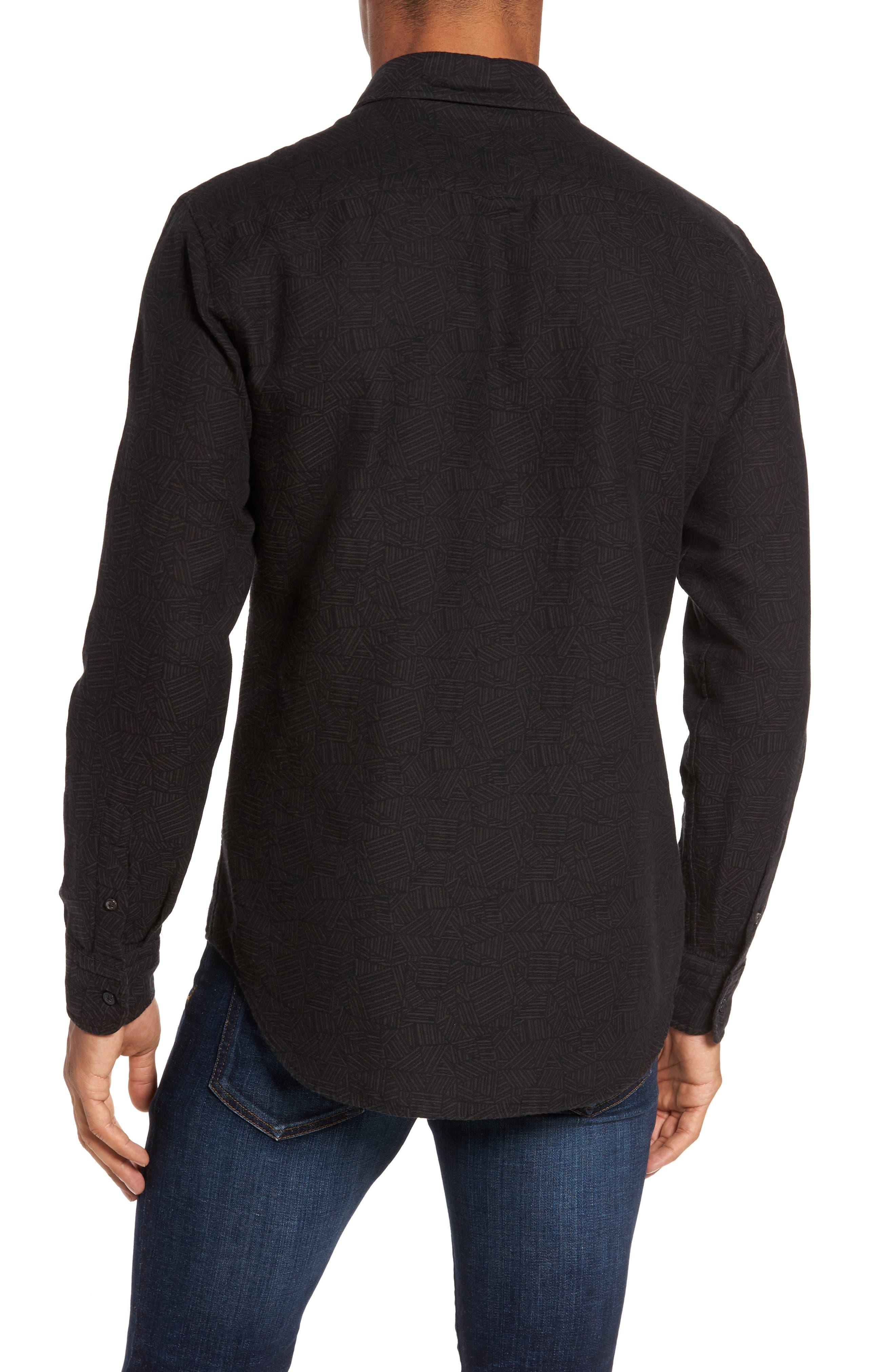 Kirby Slim Fit Print Sport Shirt,                             Alternate thumbnail 2, color,                             Black/ Gold
