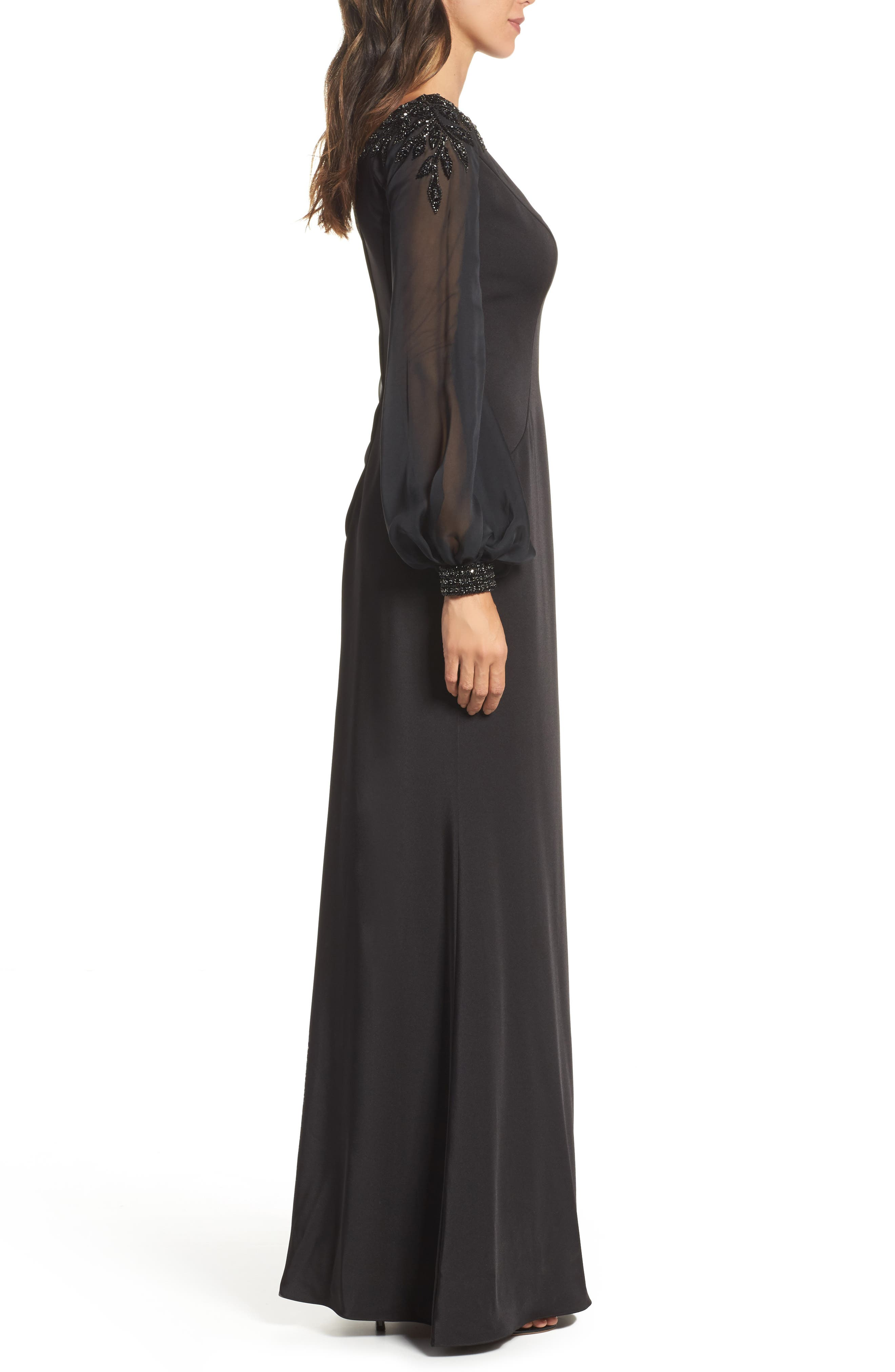 Beaded Bubble Sleeve Gown,                             Alternate thumbnail 3, color,                             Black