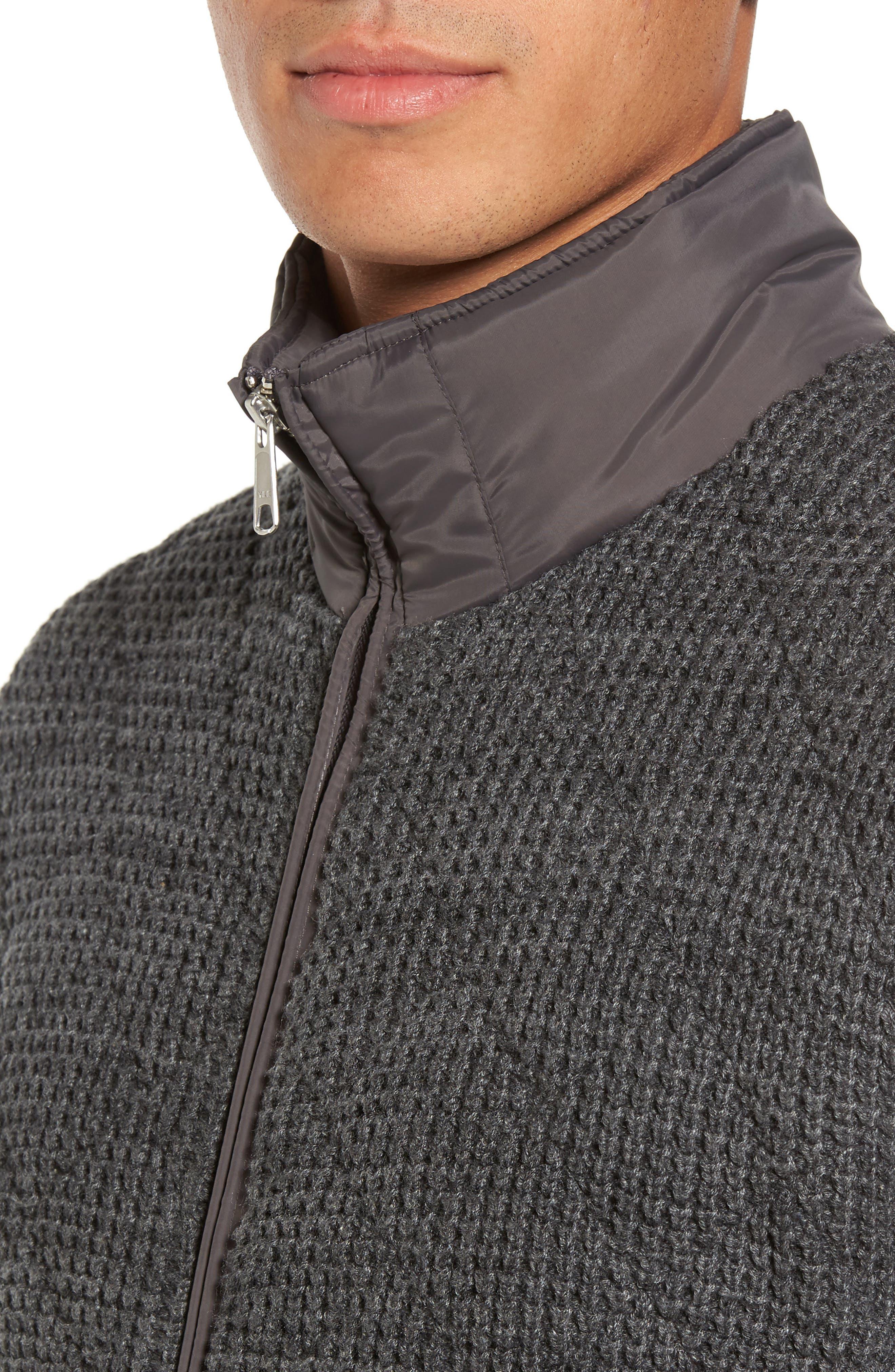 Mixed Media Full Zip Sweater,                             Alternate thumbnail 4, color,                             Grey Dark Charcoal Spacedye