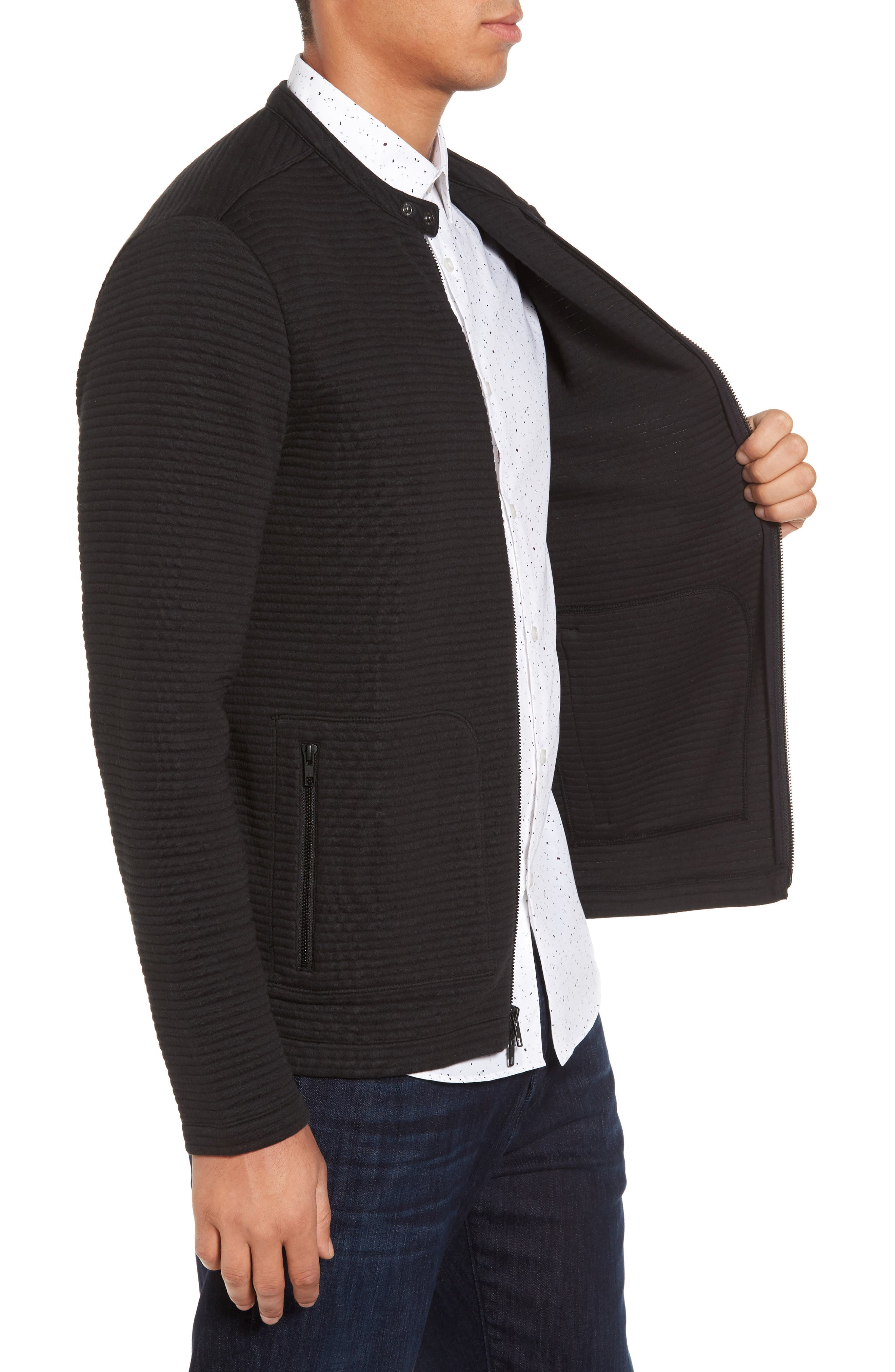 Quilted Moto Jacket,                             Alternate thumbnail 3, color,                             Black