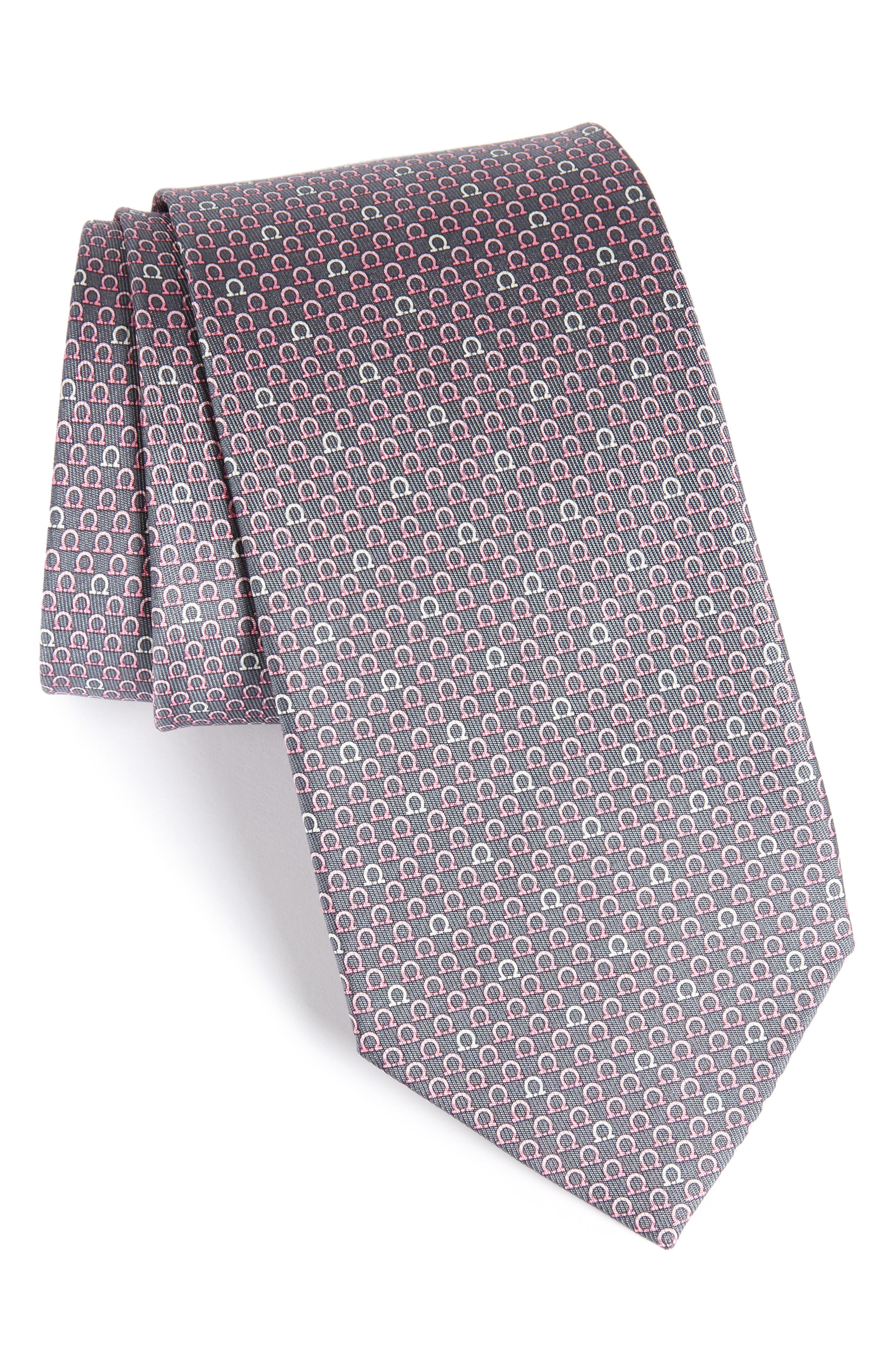 Geometric Print Silk Tie,                             Main thumbnail 1, color,                             Grey
