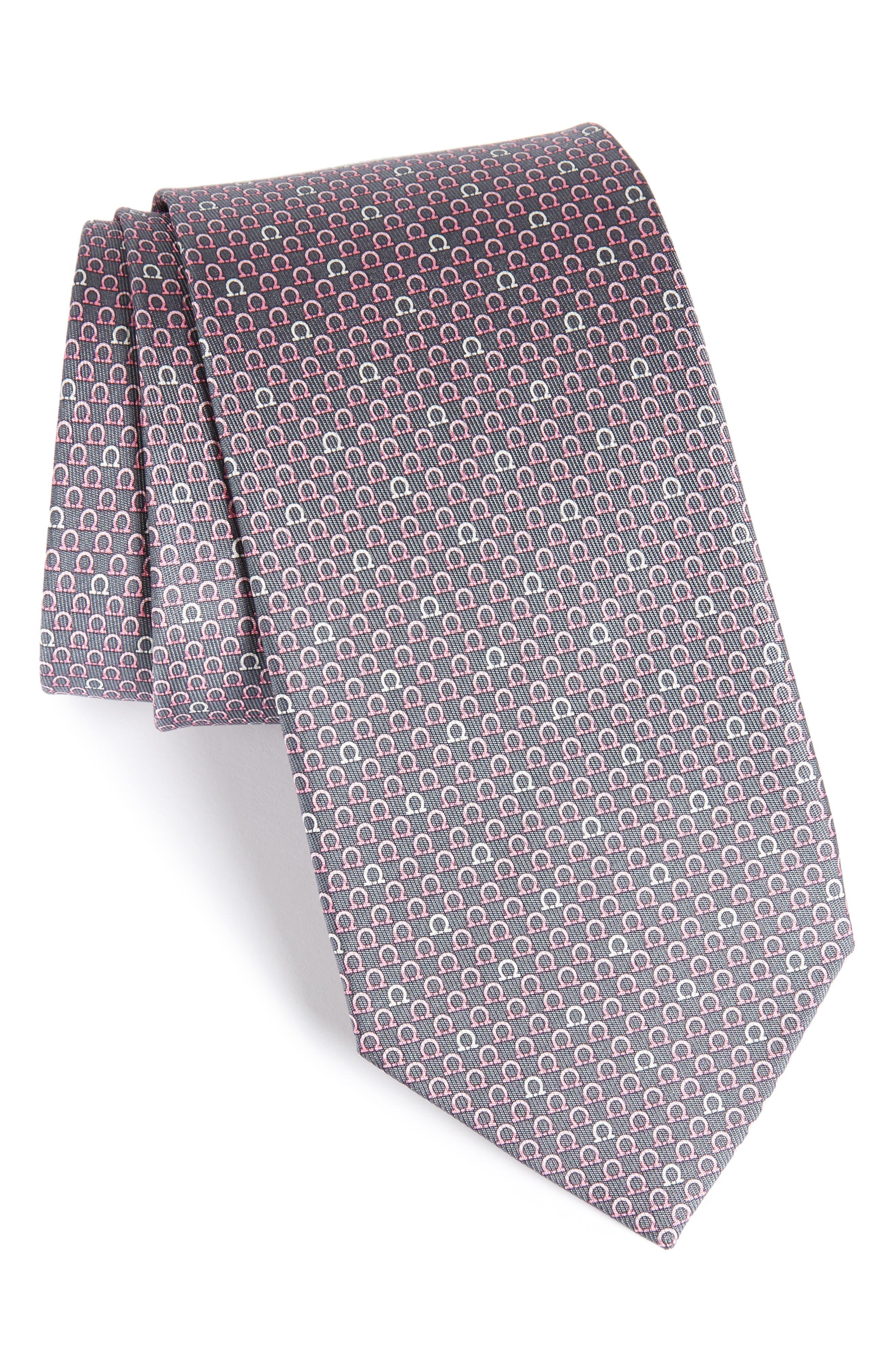 Geometric Print Silk Tie,                         Main,                         color, Grey