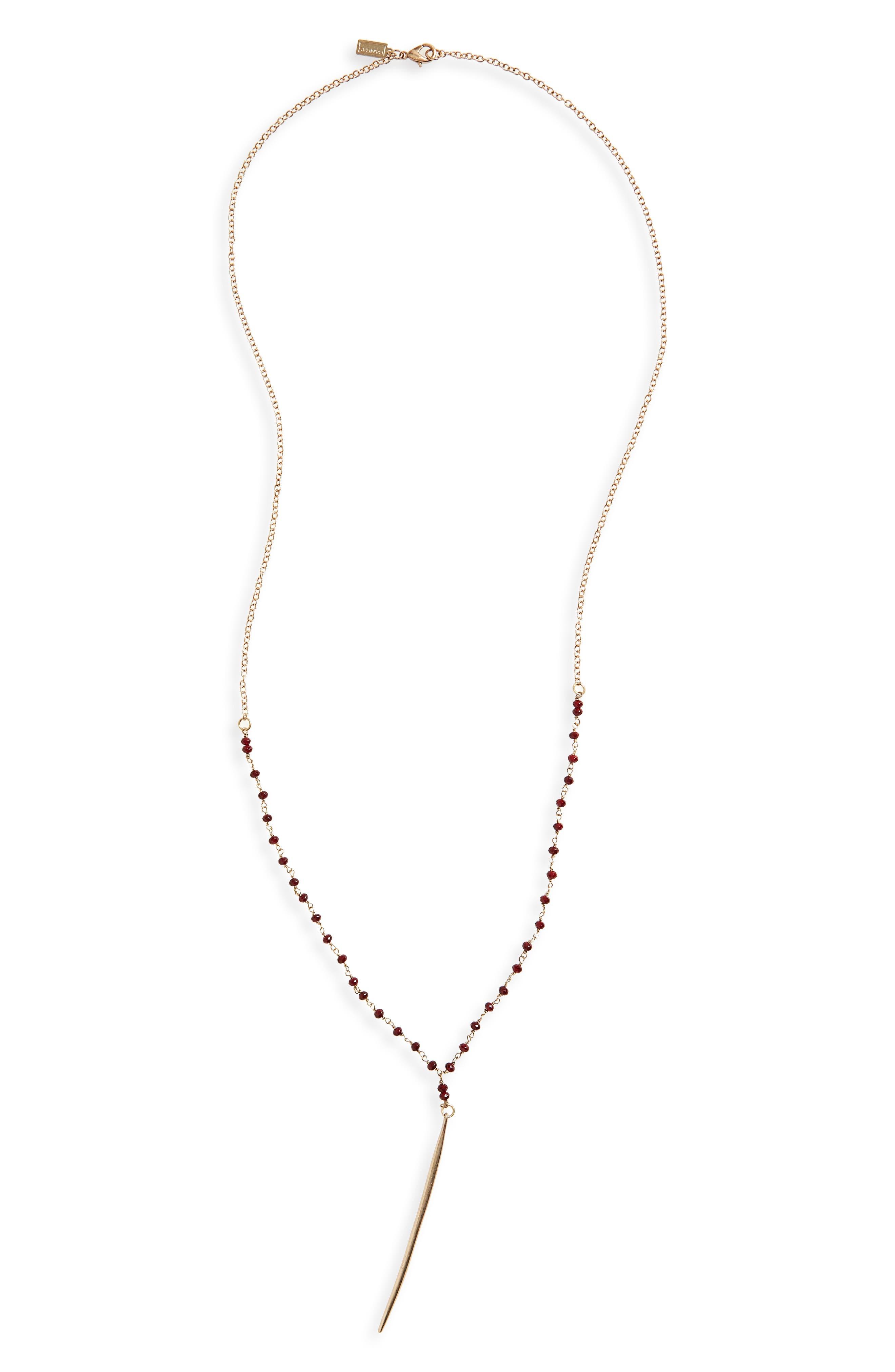Delicate Spear Y-Necklace,                         Main,                         color, Burgundy