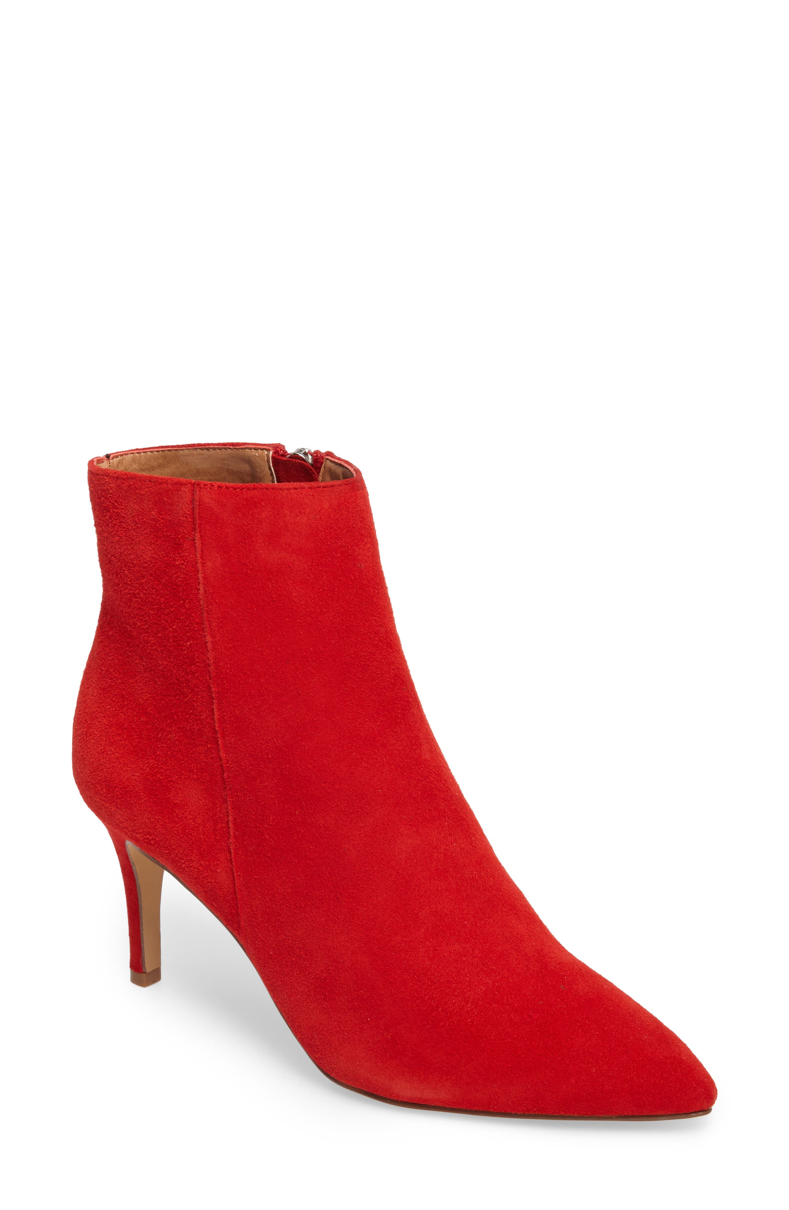 New Lyst - Gianvito Rossi Womens Suede Ankleflare Bootie Red In Red