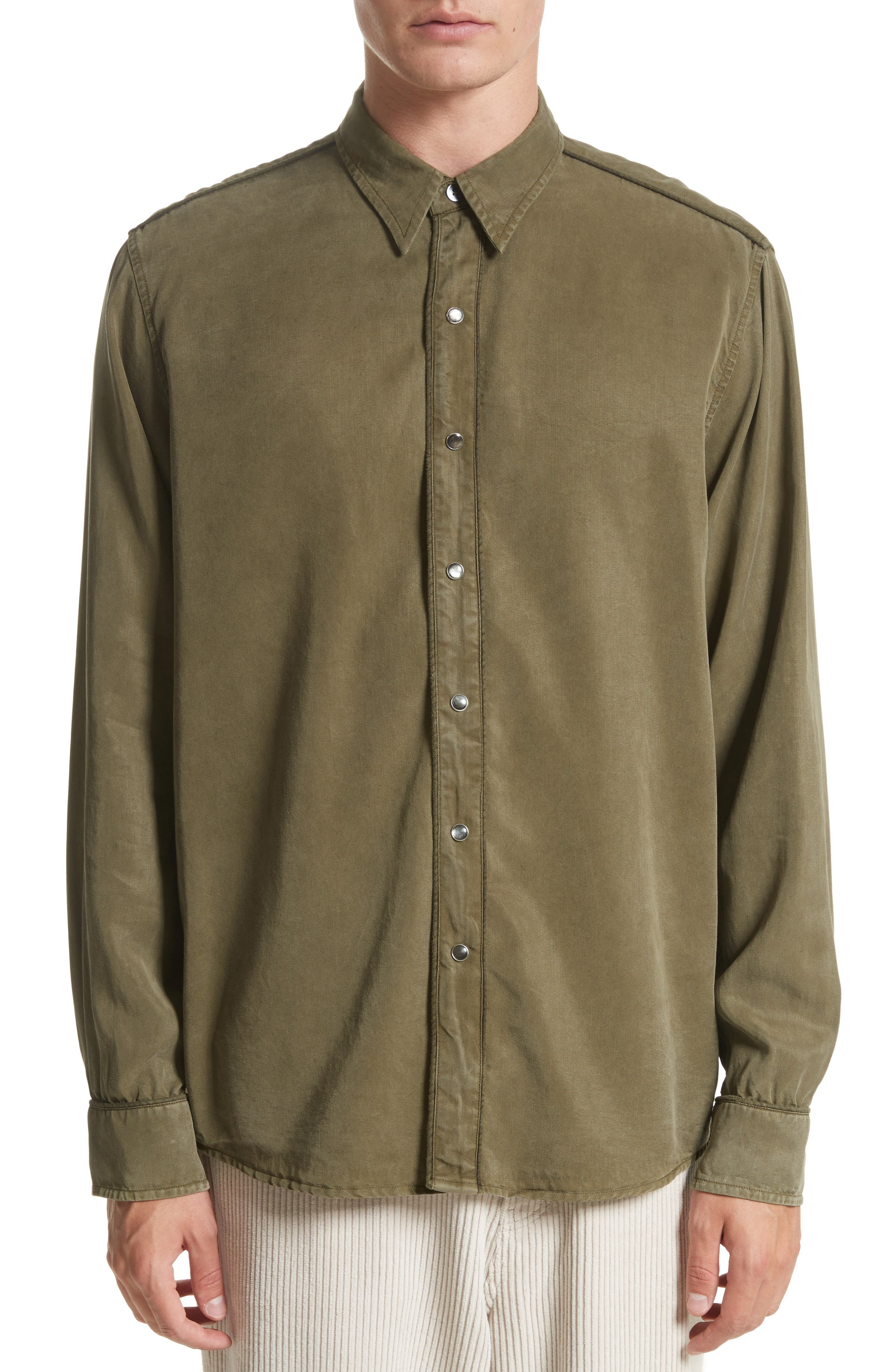 Lyocell Western Shirt,                         Main,                         color, Green