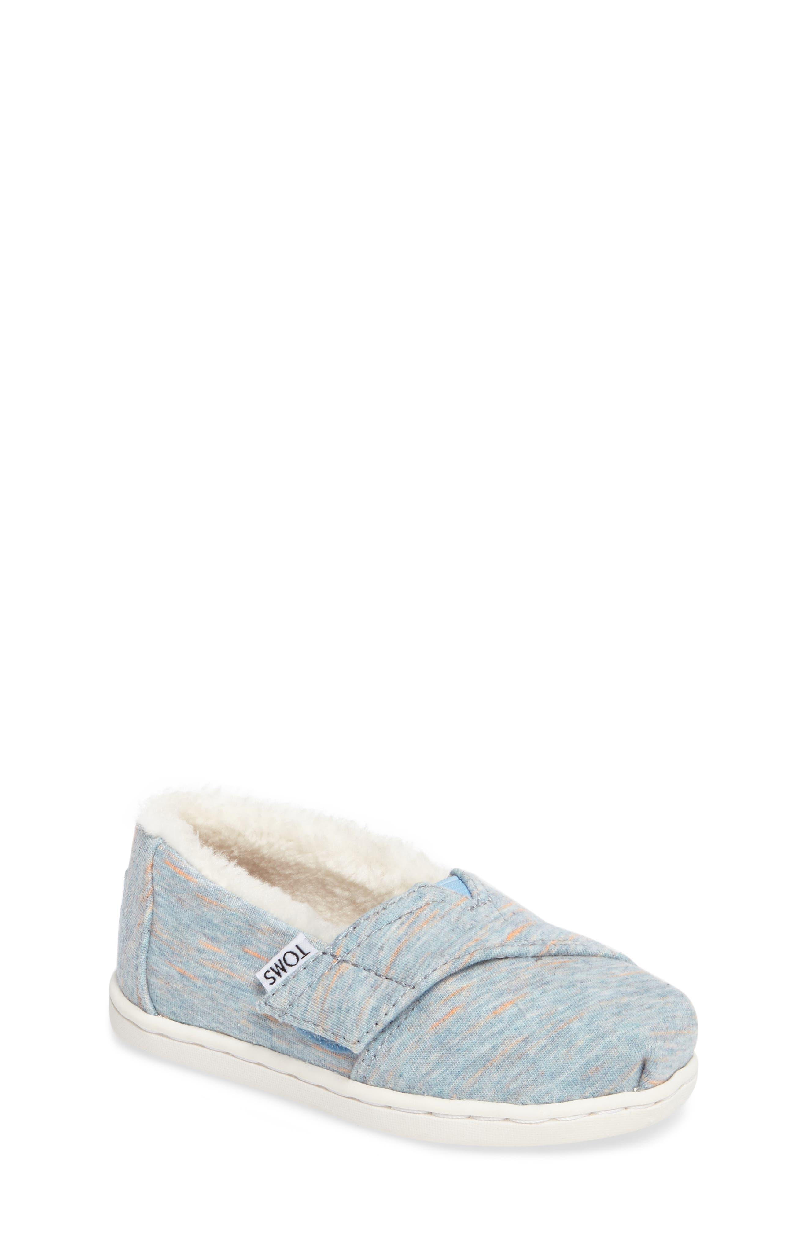 Classic - Tiny Herringbone Faux Shearling Lined Slip-On,                         Main,                         color, Alaskan Blue Heather Jersey