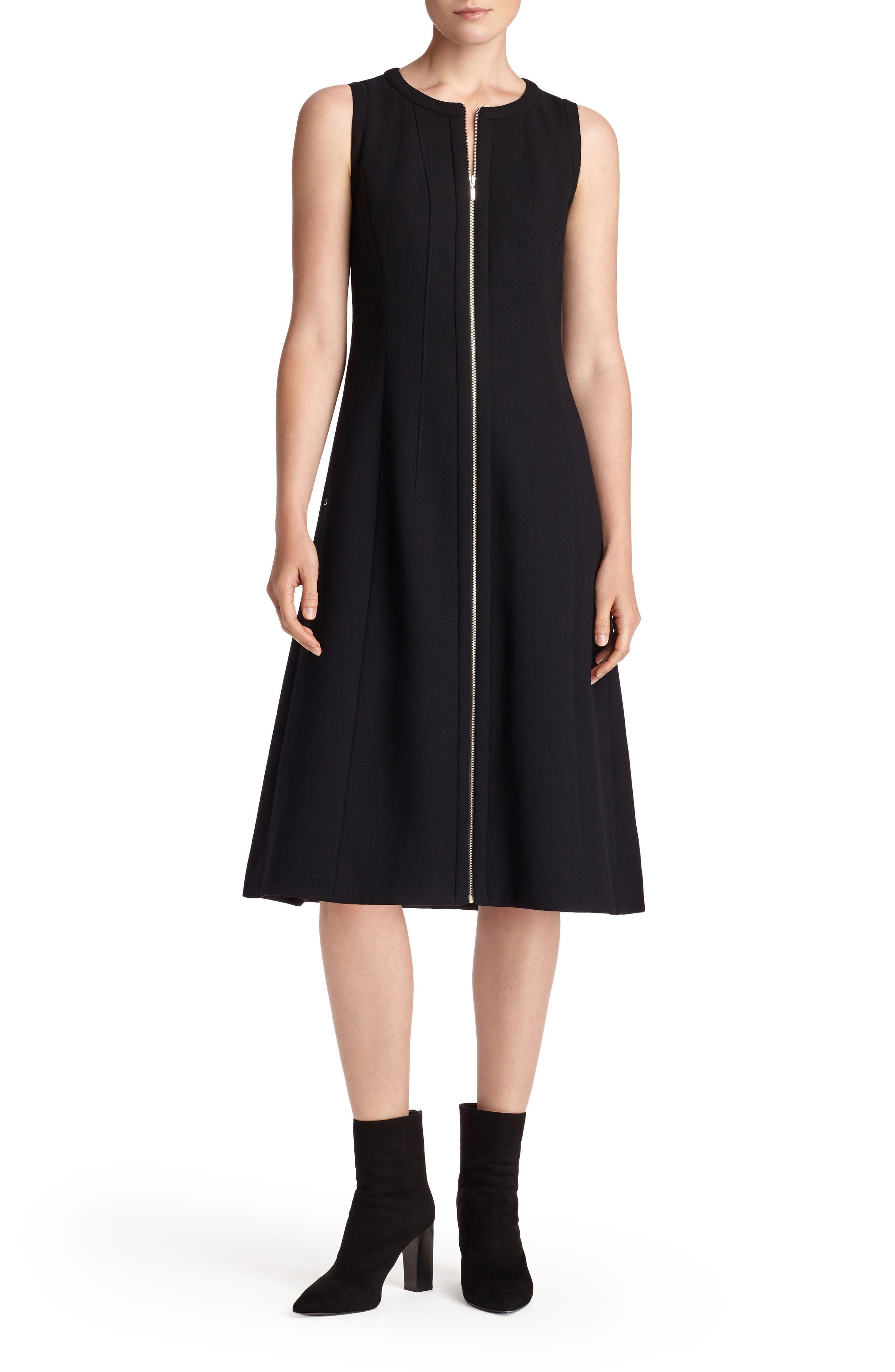Celinda Nouveau Crepe Dress,                             Main thumbnail 1, color,                             Black