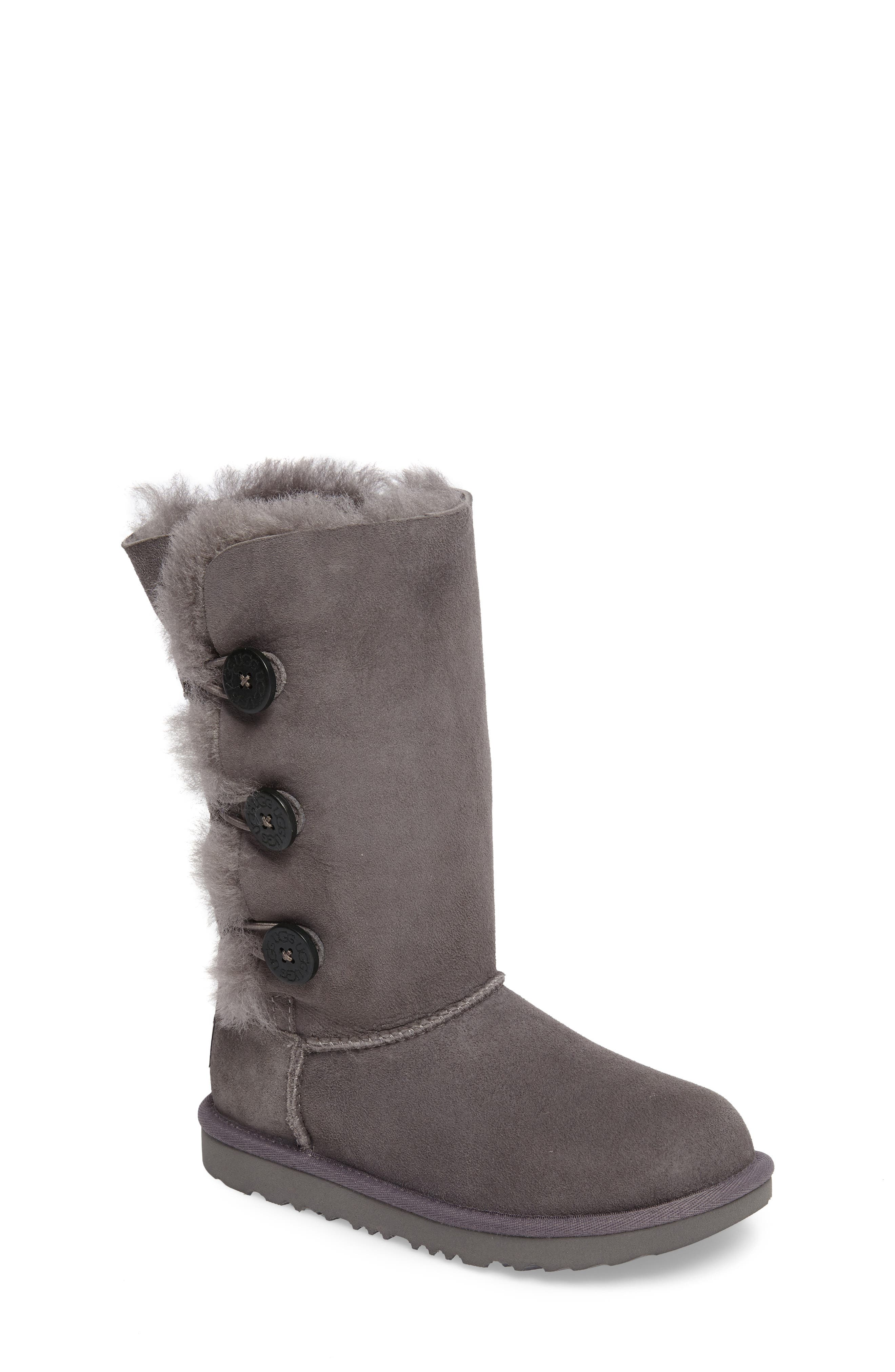 Main Image - UGG® Bailey Button Triplet II Genuine Shearling Boot (Little Kid & Big Kid)