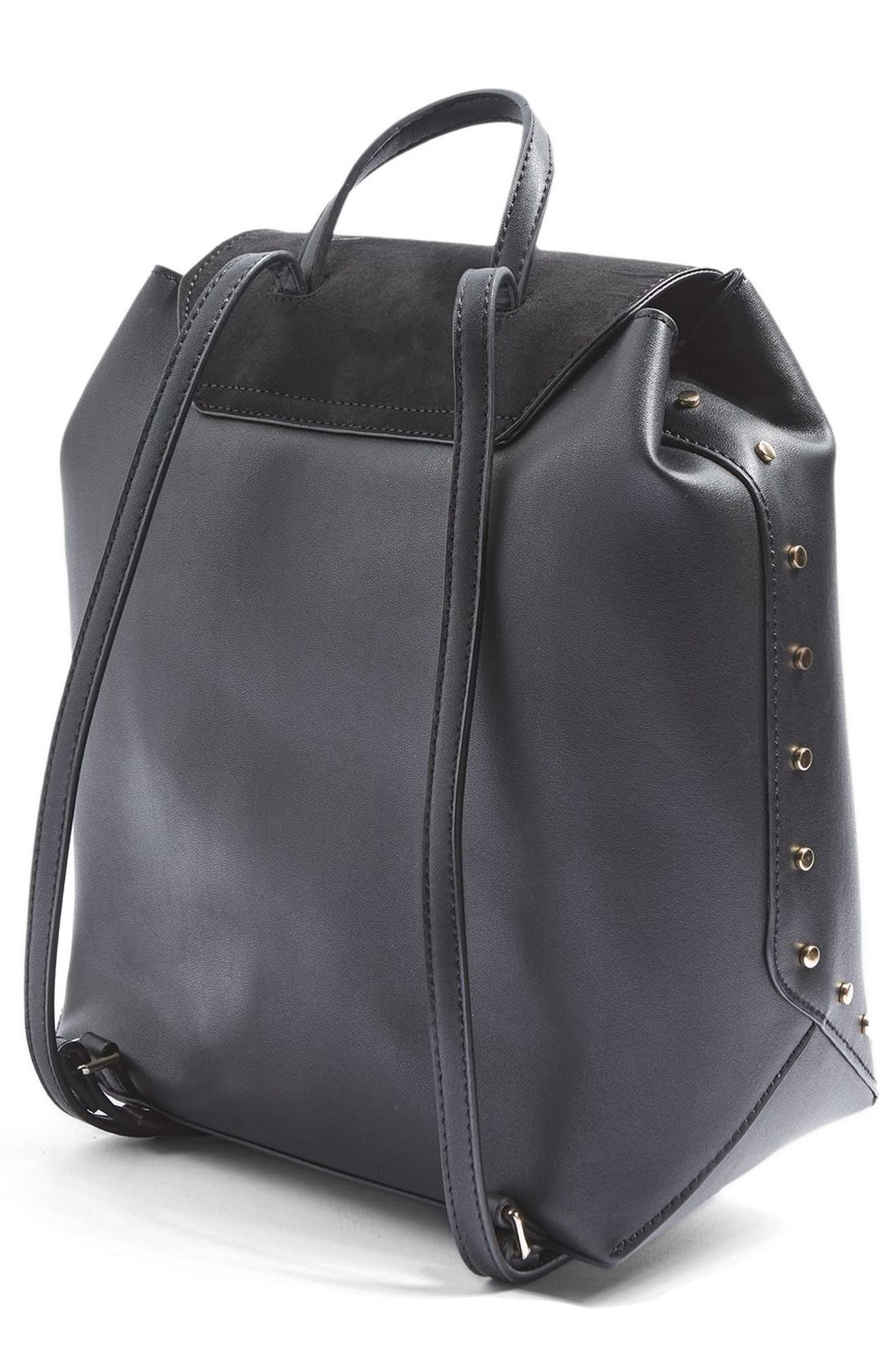Remy Trophy Faux Leather Backpack,                             Alternate thumbnail 4, color,                             Black