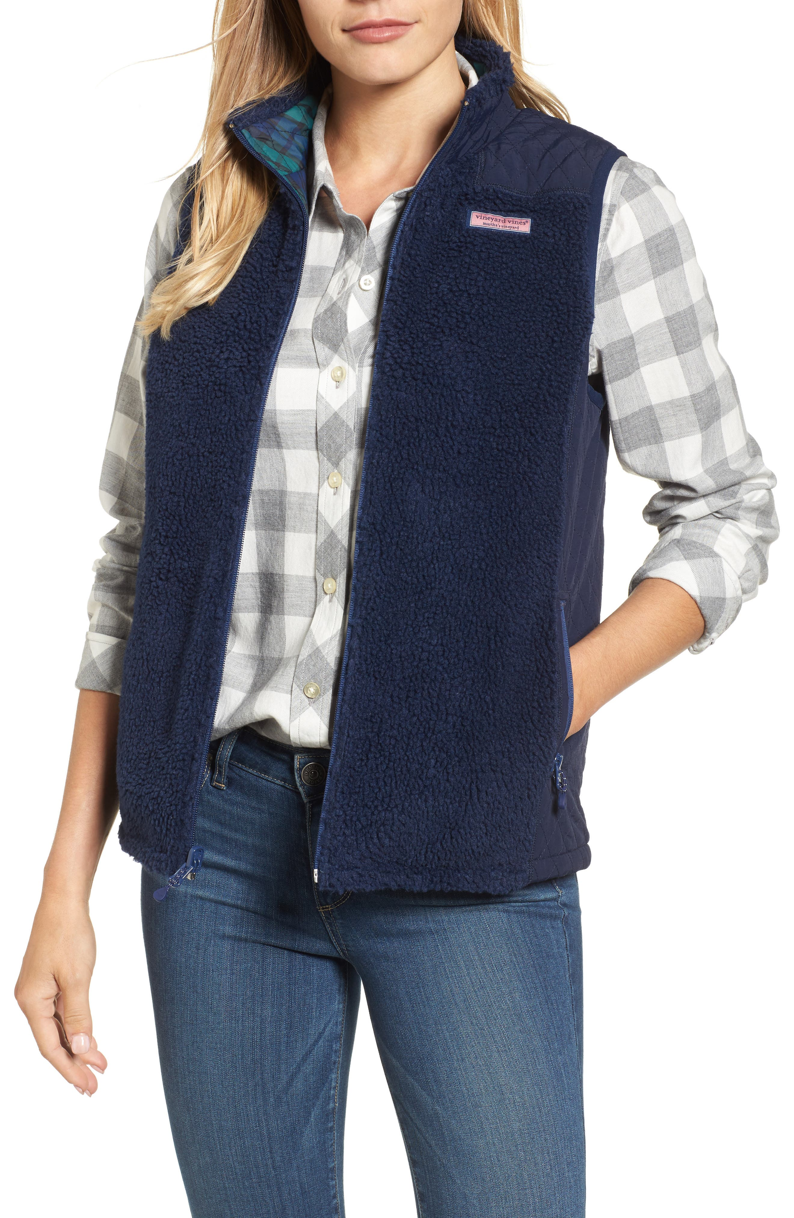 Main Image - vineyard vines Reversible Quilted Plaid Vest