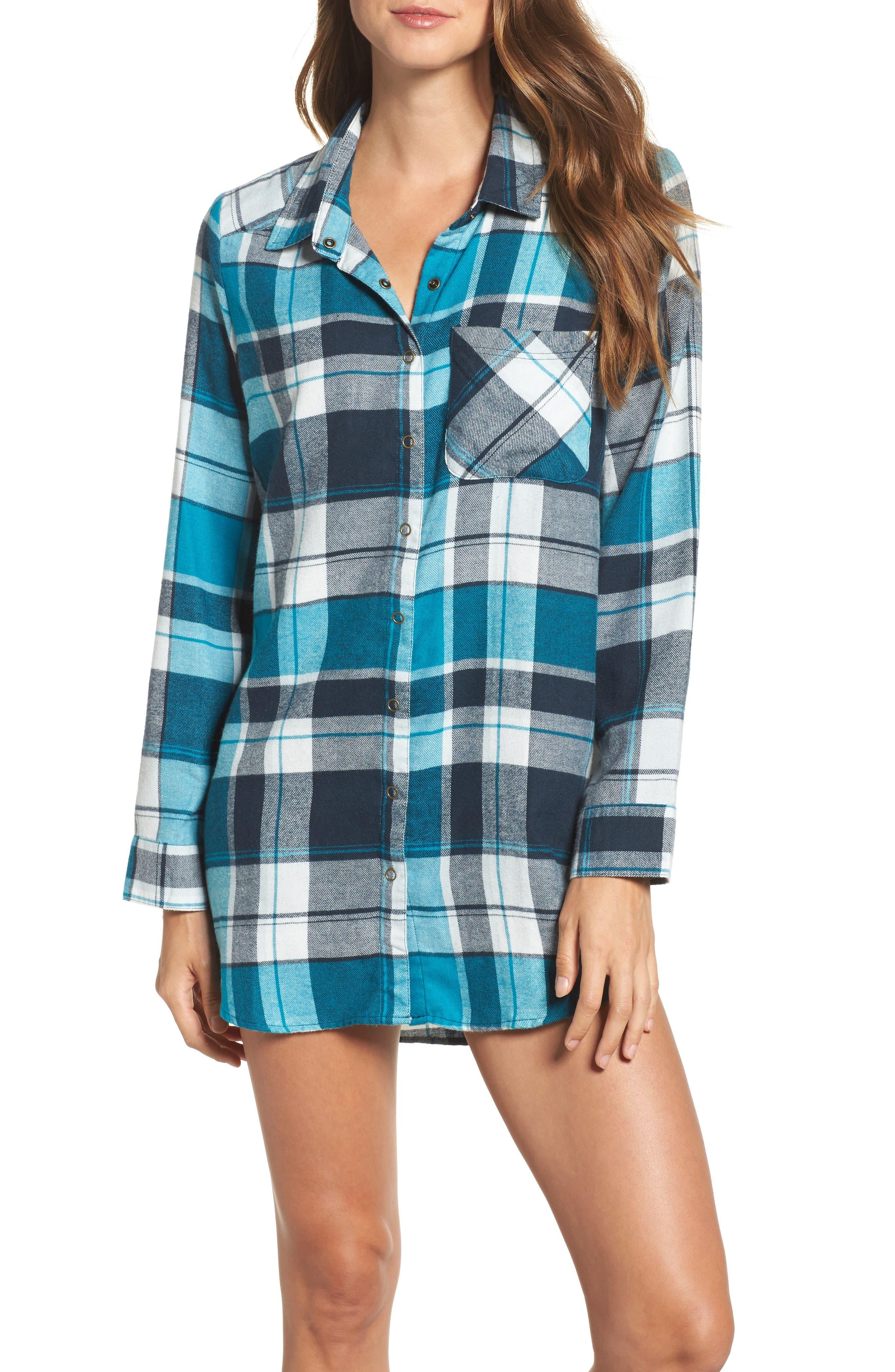 Flannel Nightshirt,                         Main,                         color, Teal Enamel Multi Plaid